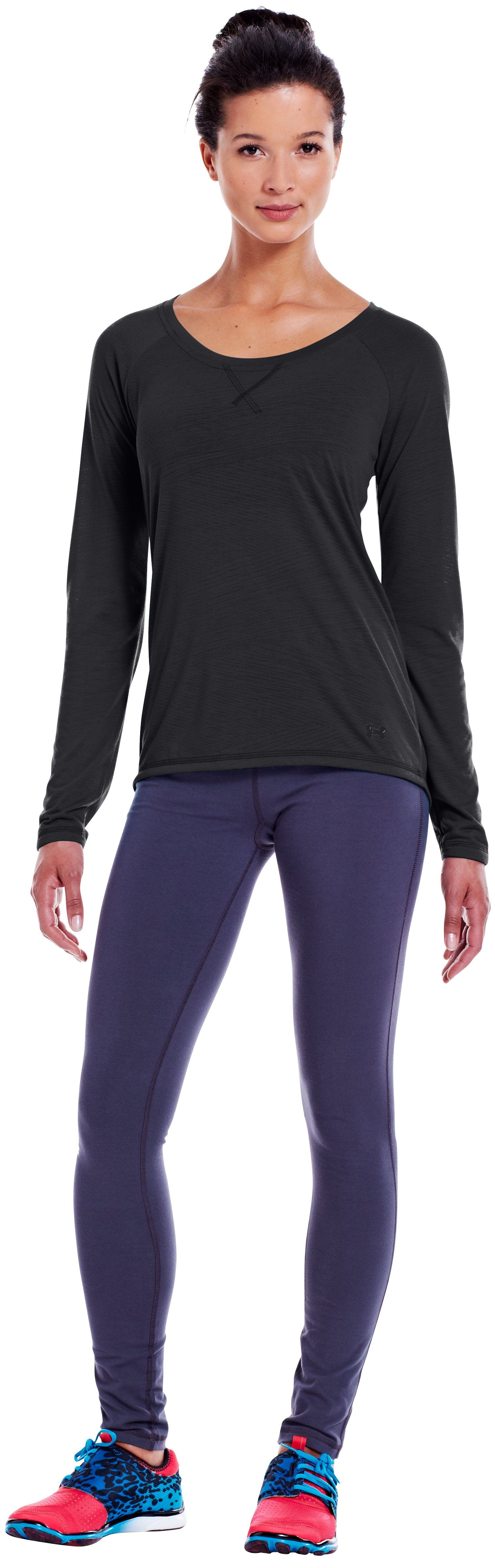 Women's UA Ultimate Burnout Long Sleeve, Black , Front