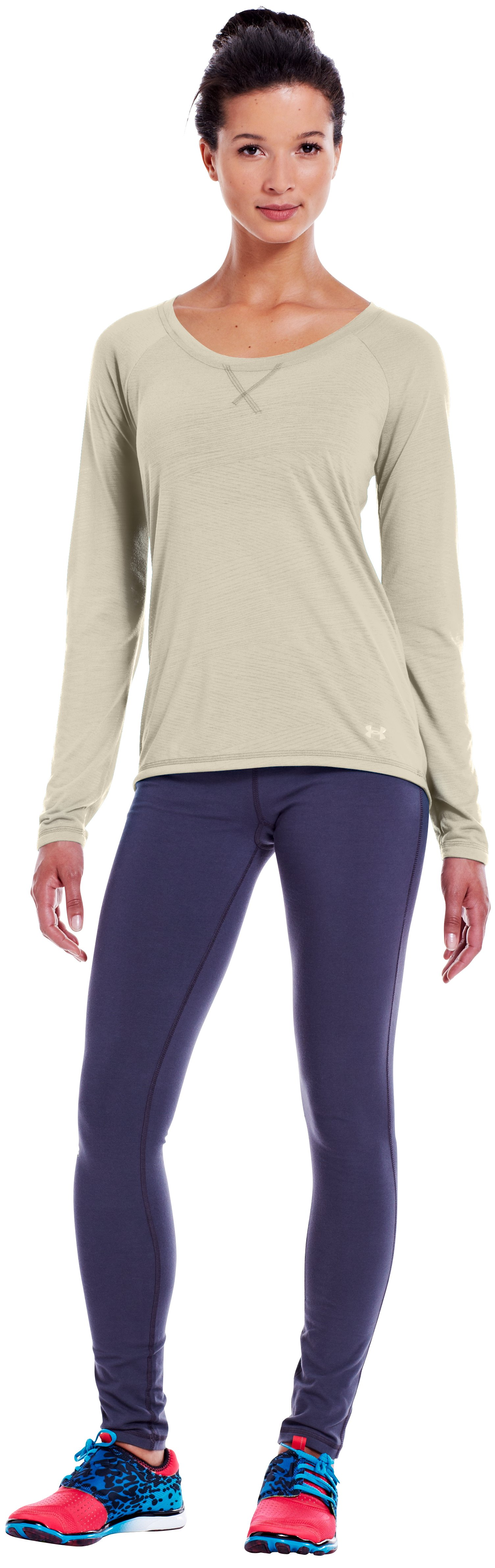 Women's UA Ultimate Burnout Long Sleeve, TUSK, Front