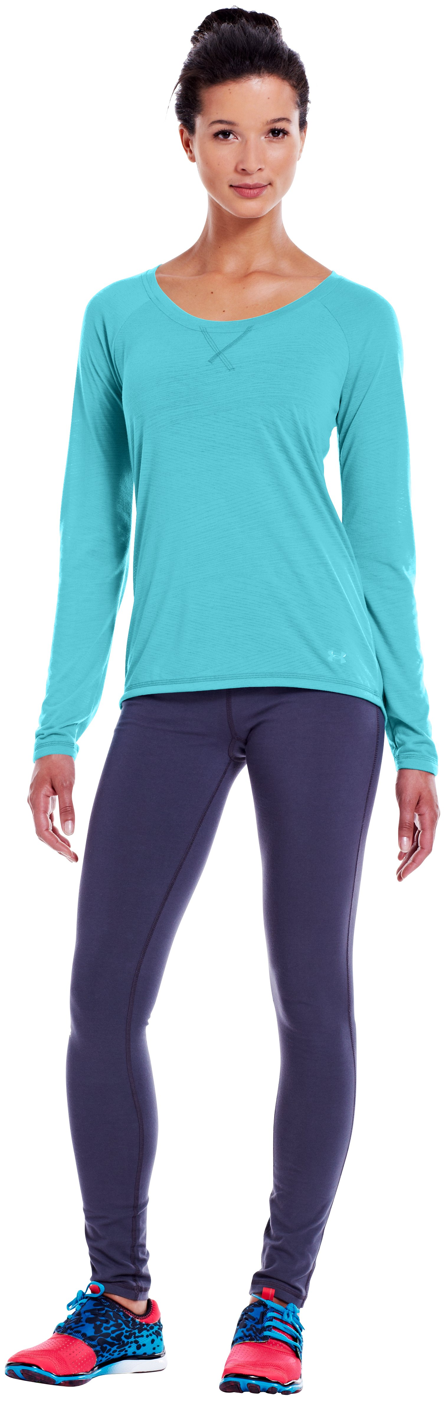 Women's UA Ultimate Burnout Long Sleeve, Tobago, Front