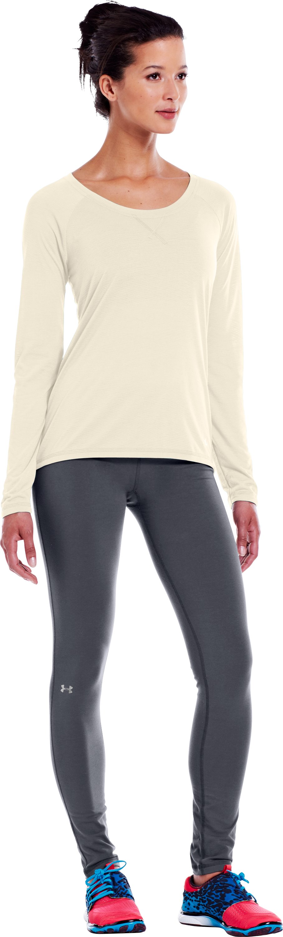 "Women's Charged Cotton® Ultimate 28"" Legging, Lead, Front"