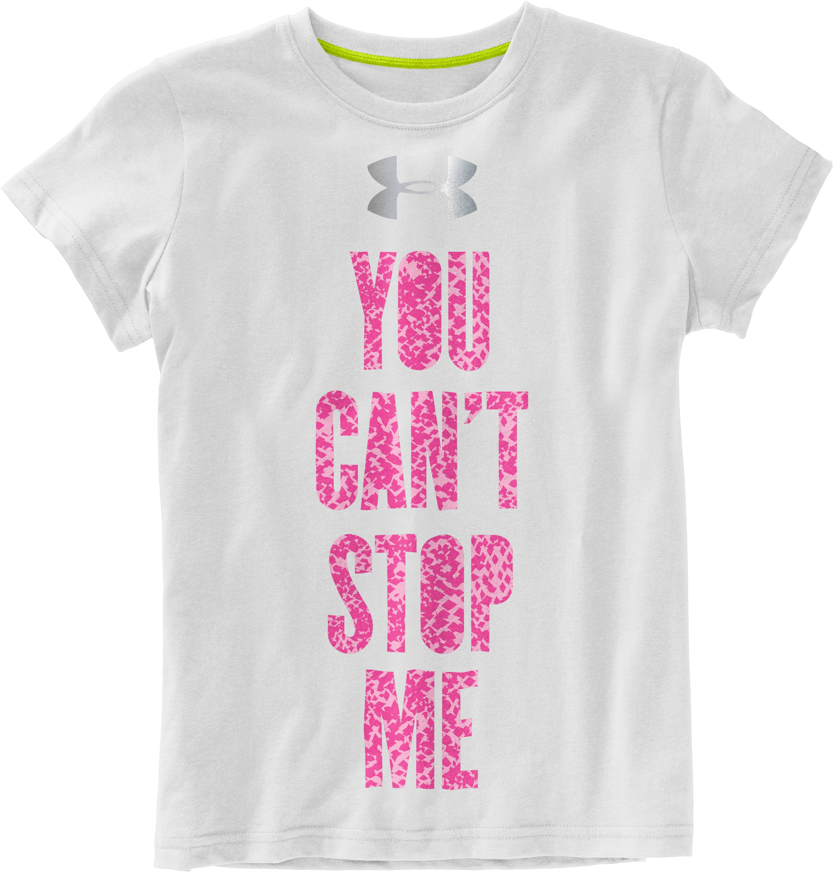 Girls' UA Catalyst Can't Stop Me Graphic T-Shirt, White, Laydown