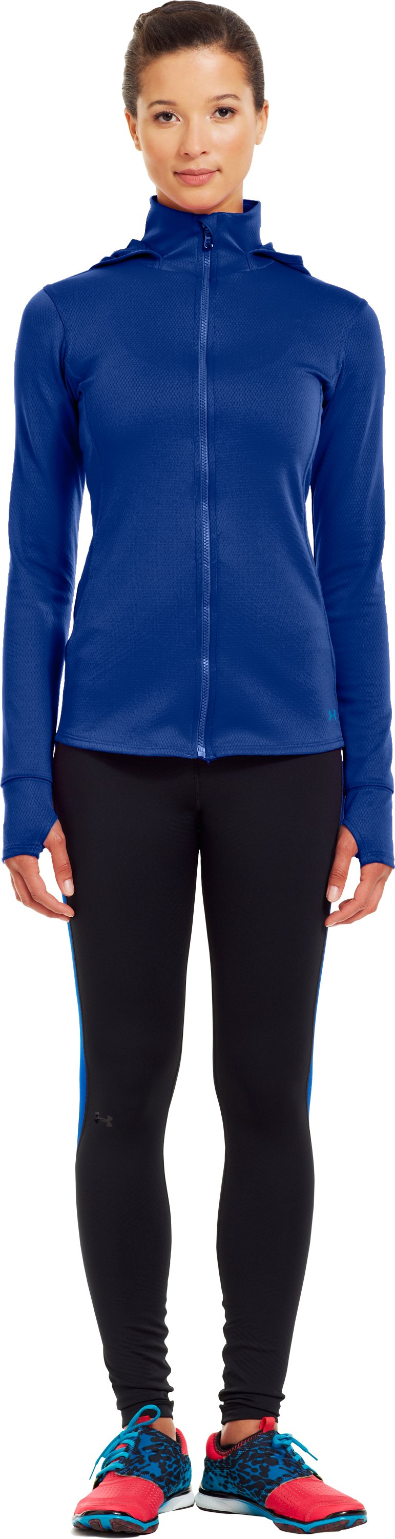 Women's ColdGear® Infrared Thermo Full Zip Hoodie, BLU-AWAY, Front