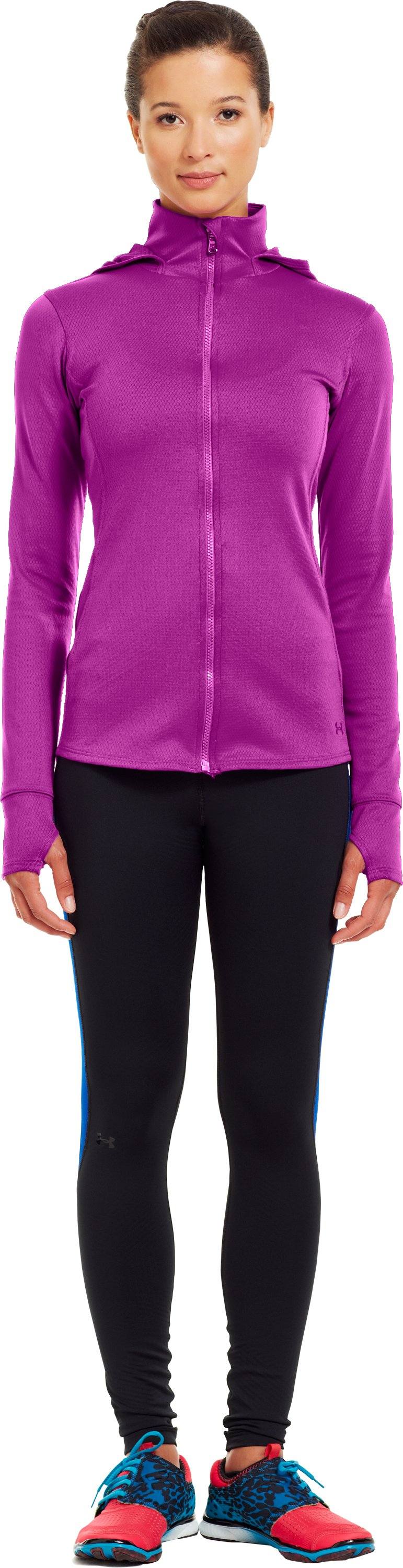 Women's ColdGear® Infrared Thermo Full Zip Hoodie, STROBE, Front