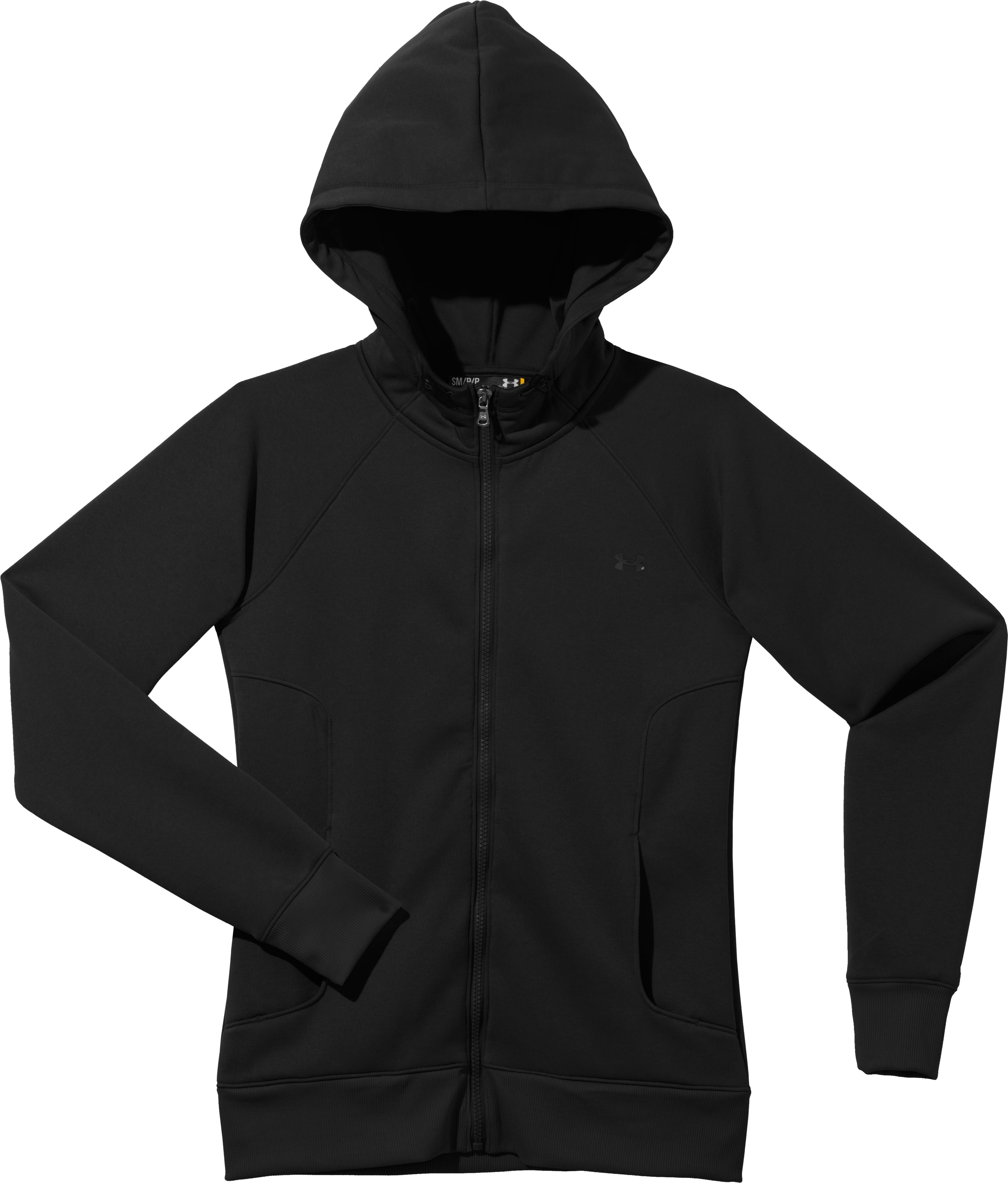 Women's Armour® Fleece Storm Full Zip Hoodie, Black , Laydown