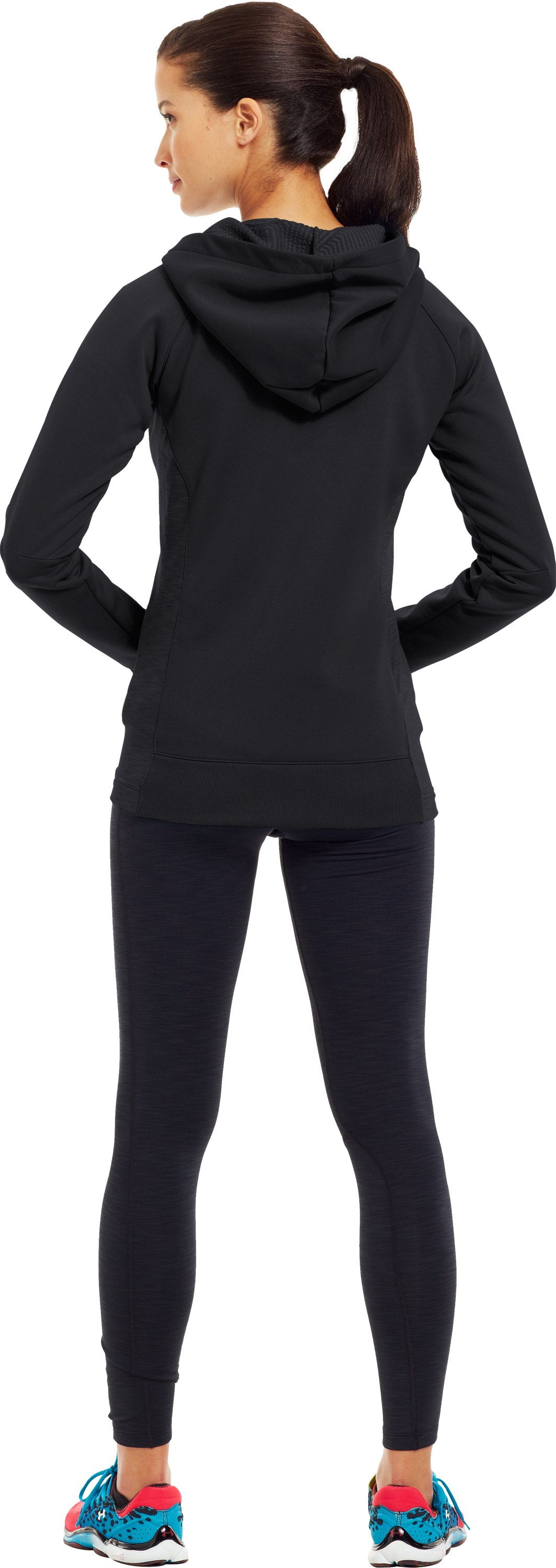 Women's ColdGear® Infrared Armour® Fleece Storm Full Zip Hoodie, Black , Back