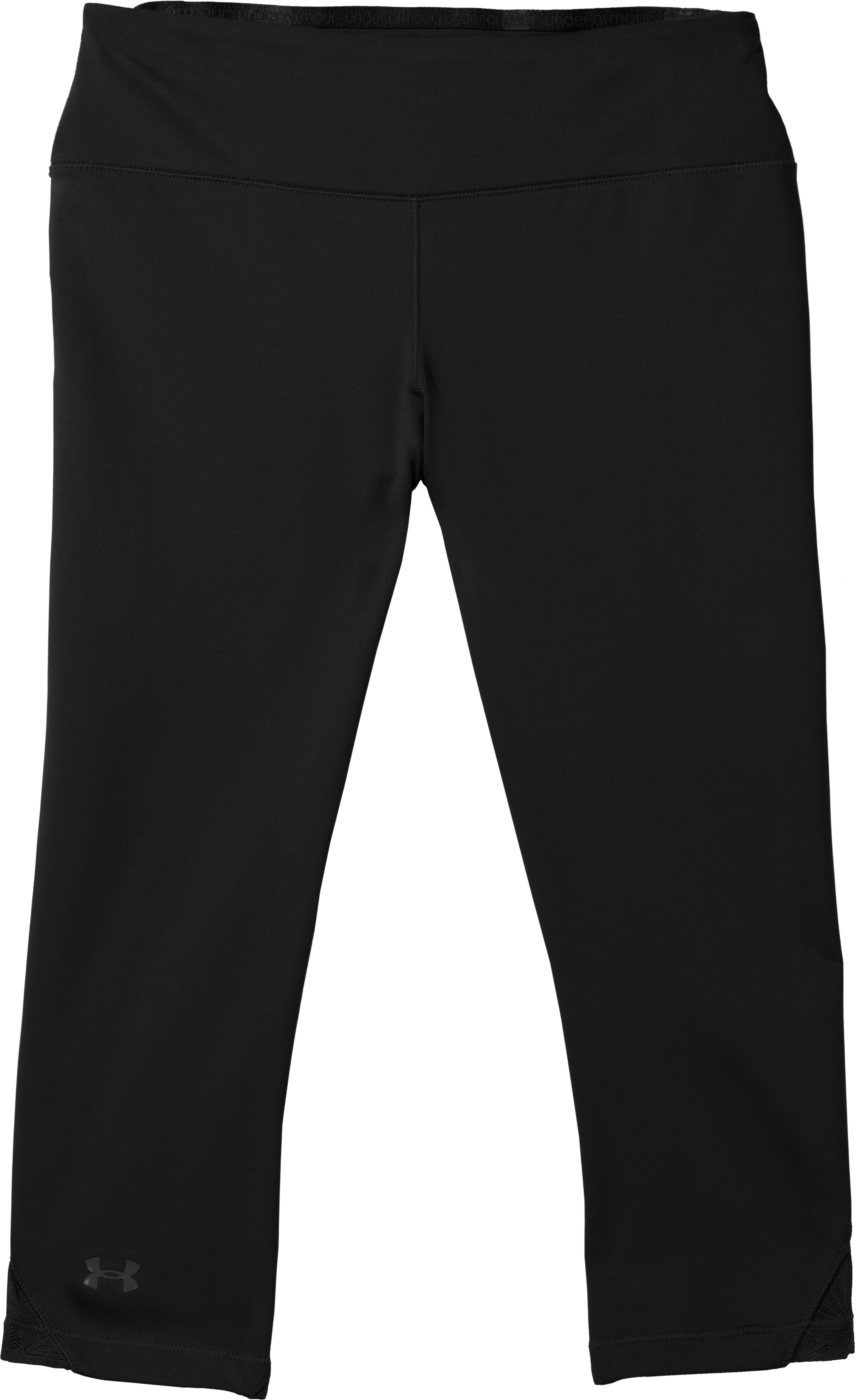 "Women's HeatGear® Sonic See It Through 17"" Capri, Black , Laydown"