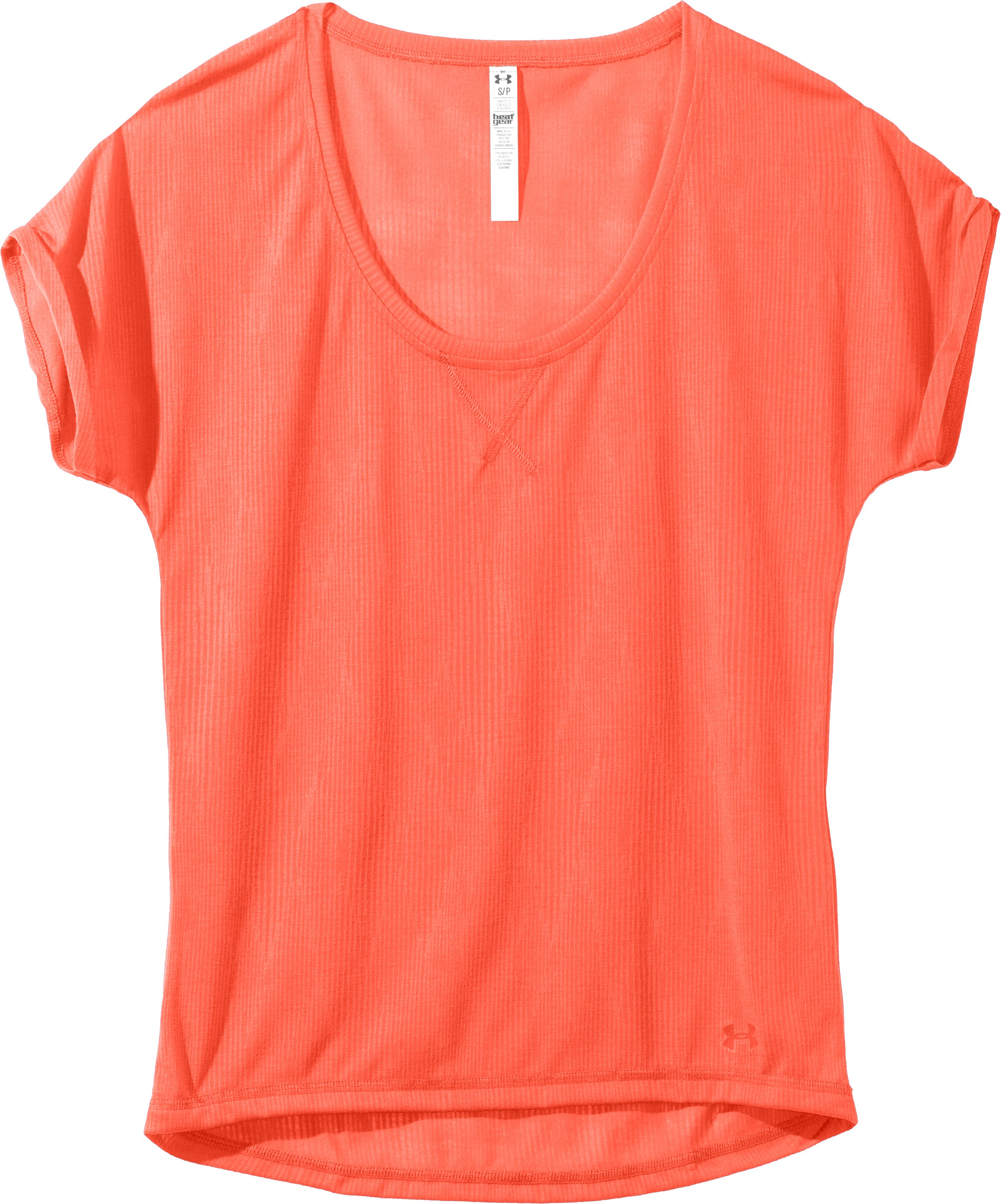 Women's UA Arena Burnout T-Shirt, ELECTRIC TANGERINE, Laydown