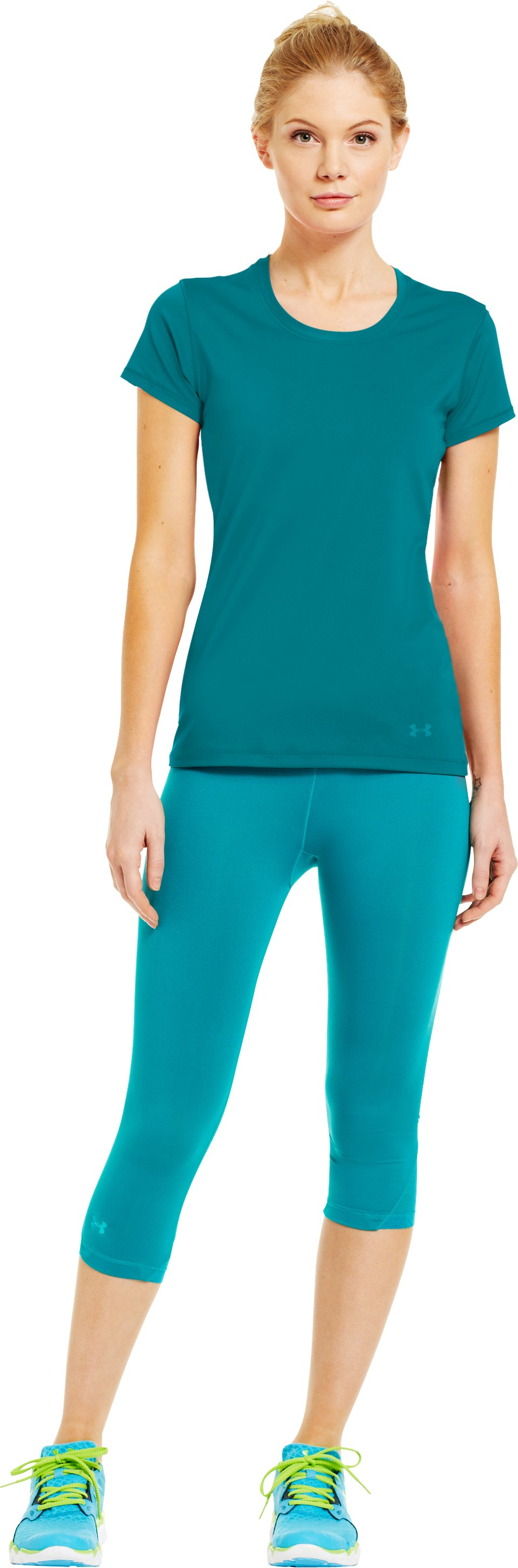 Women's HeatGear® Sonic See It Through Short Sleeve, CERULEAN, Front