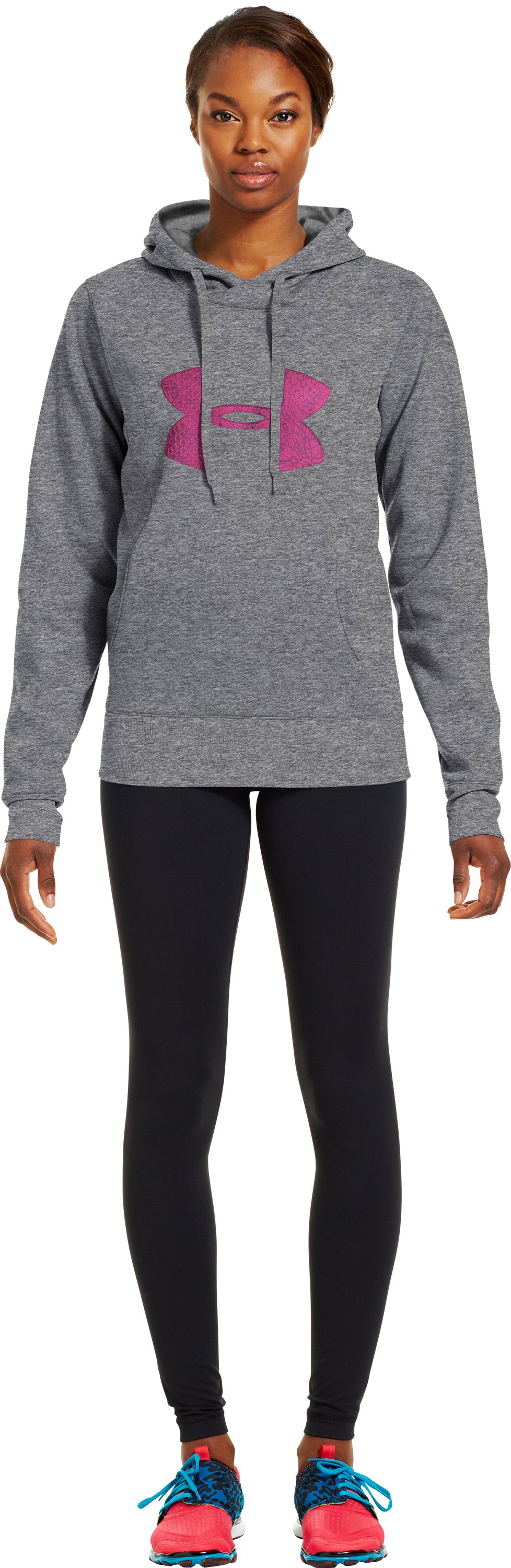 Women's Armour® Fleece Storm Pulse Big Logo Hoodie, True Gray Heather, Front