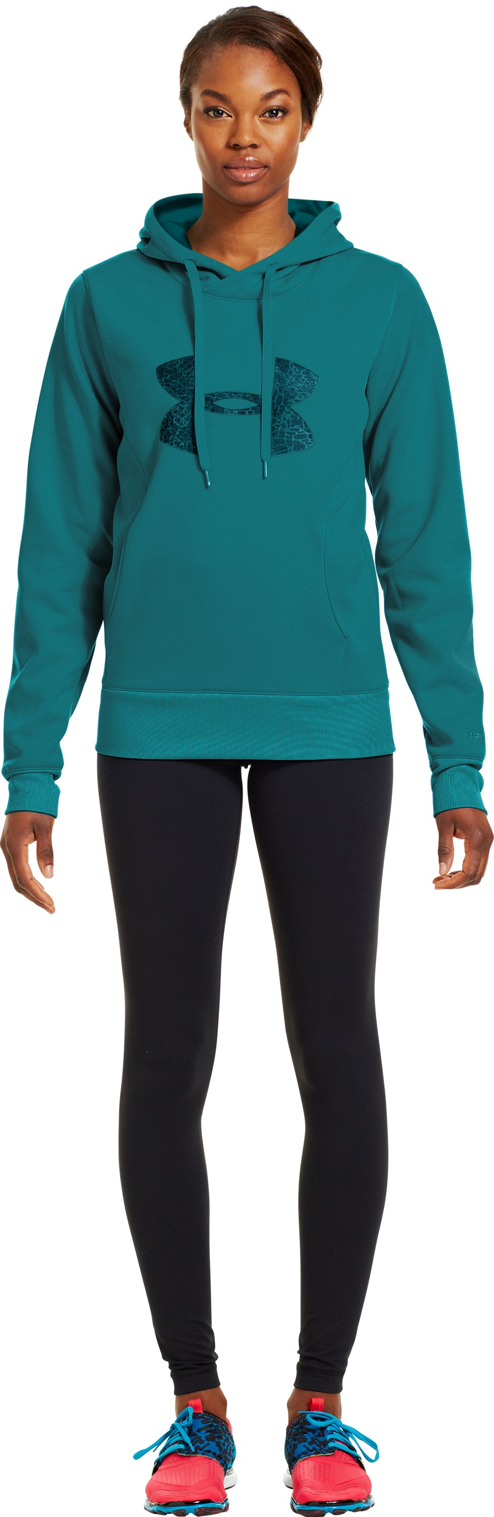 Women's Armour® Fleece Storm Pulse Big Logo Hoodie, CERULEAN, Front