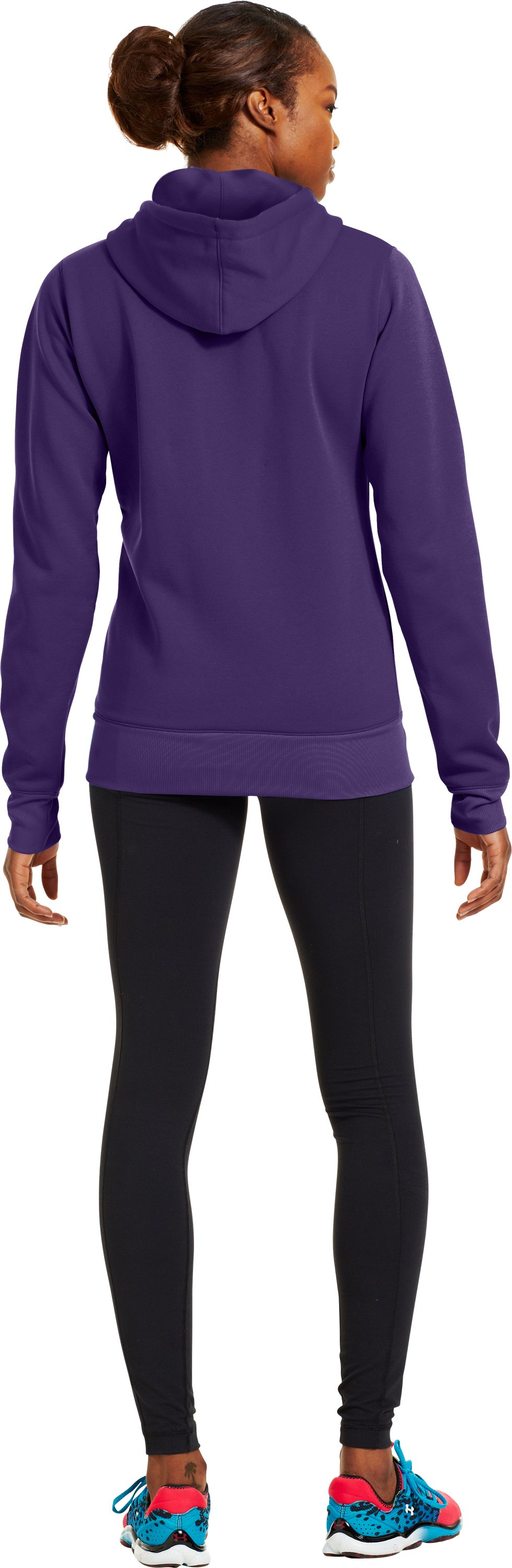 Women's Armour® Fleece Storm Pulse Big Logo Hoodie, Purple Rain, Back