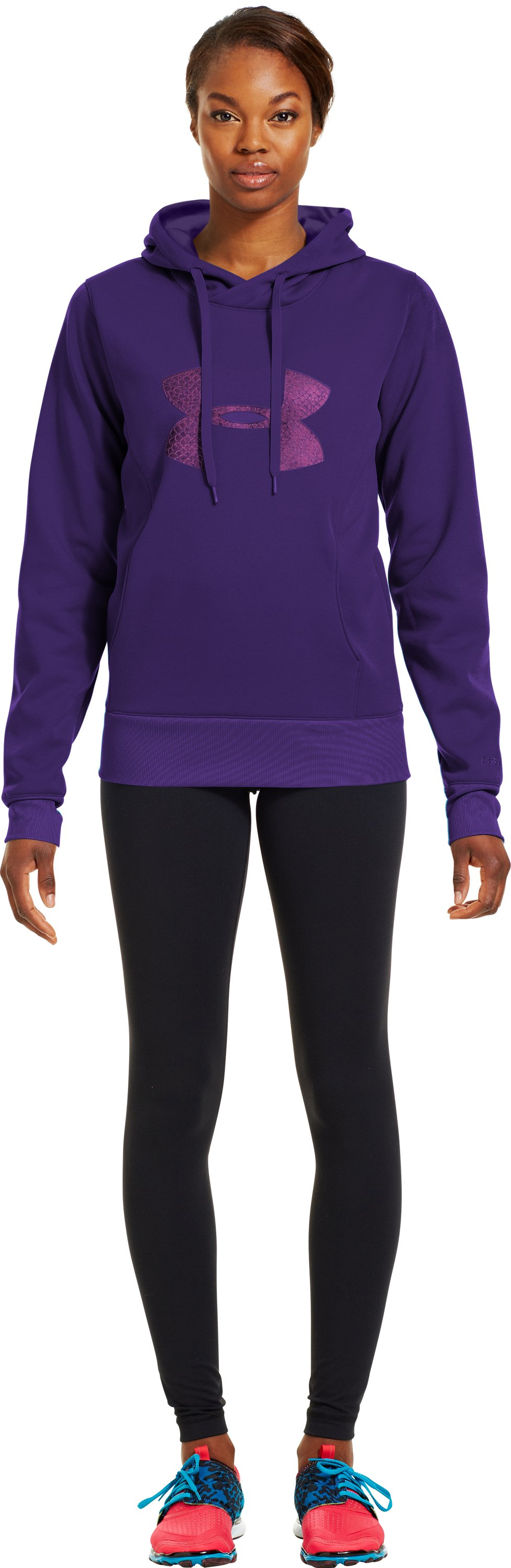 Women's Armour® Fleece Storm Pulse Big Logo Hoodie, Purple Rain, Front