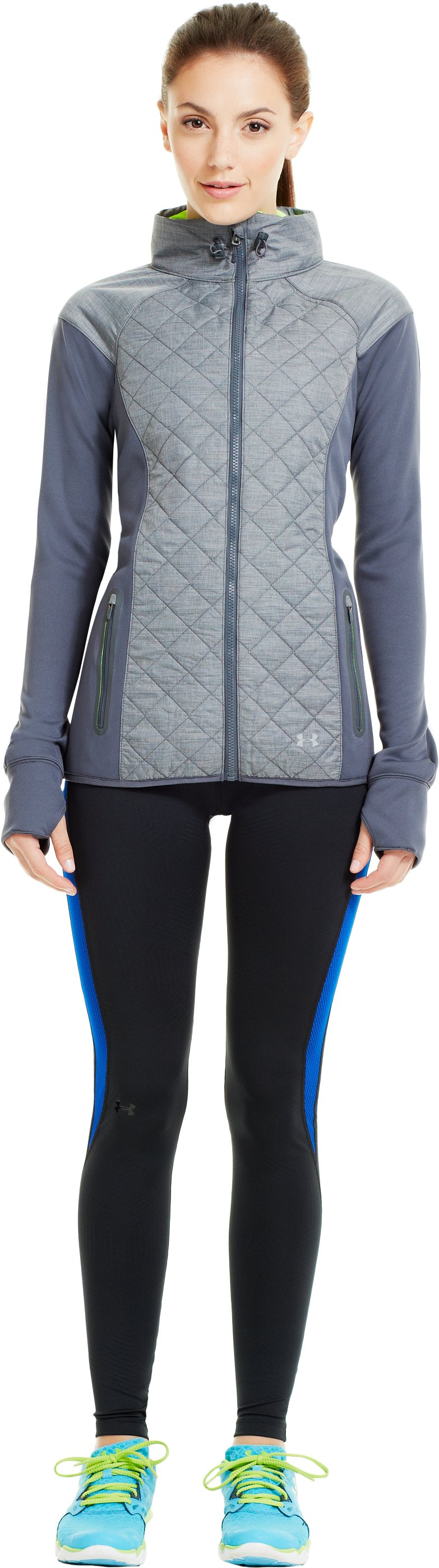 Women's ColdGear® Infrared Stealth Quilted Full Zip Hoodie, Lead, Front