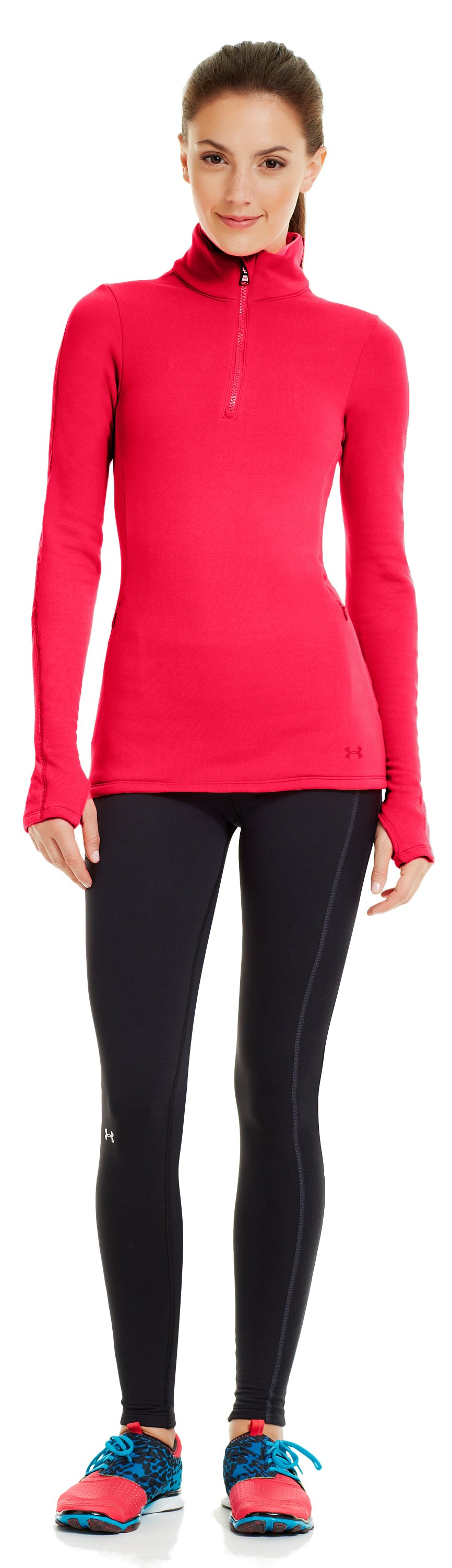 Women's UA Armour® Stretch ColdGear® ¼ Zip, Neo Pulse, zoomed image