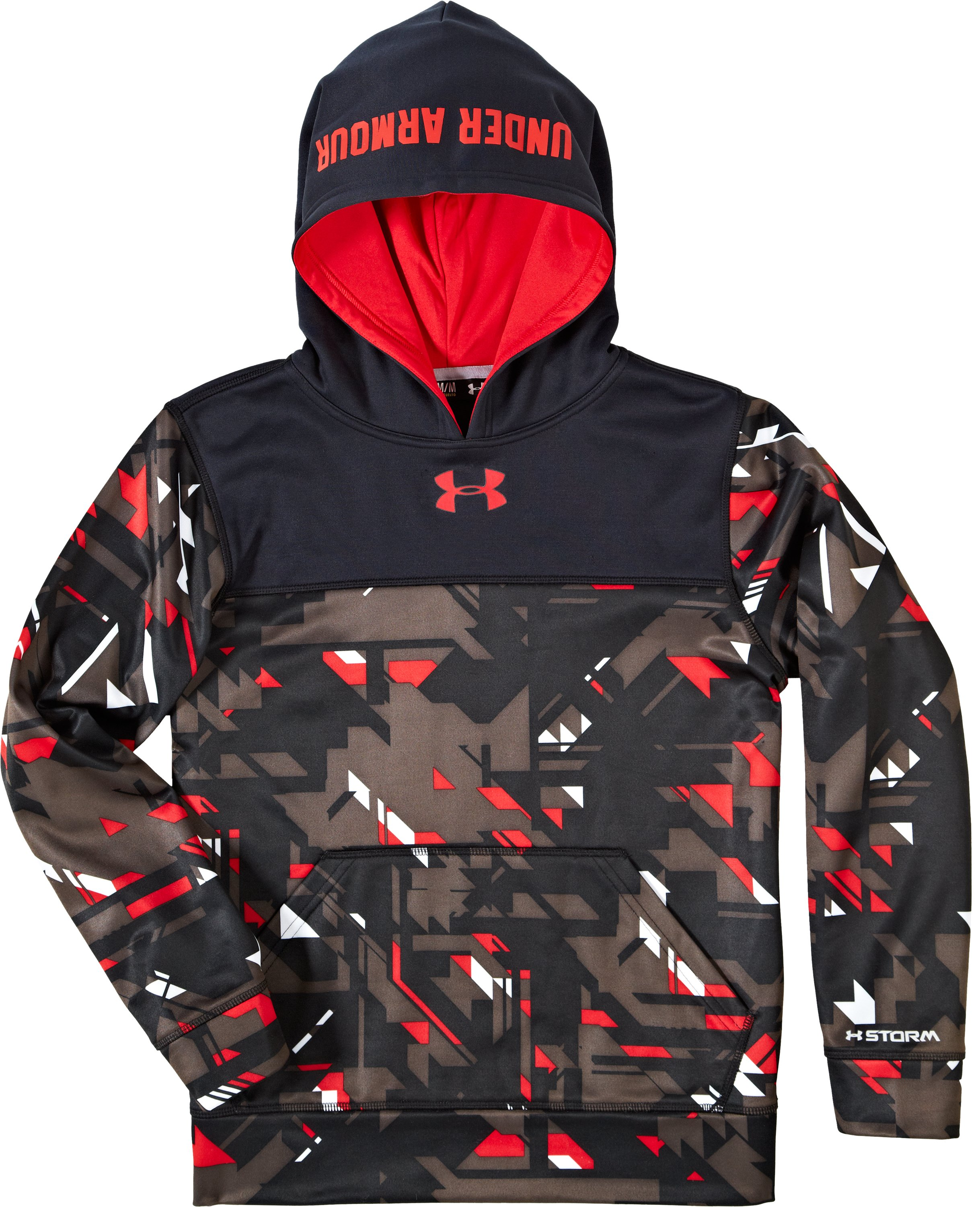 Boys' Armour® Fleece Storm Printed Blocked Hoodie, Black , Laydown