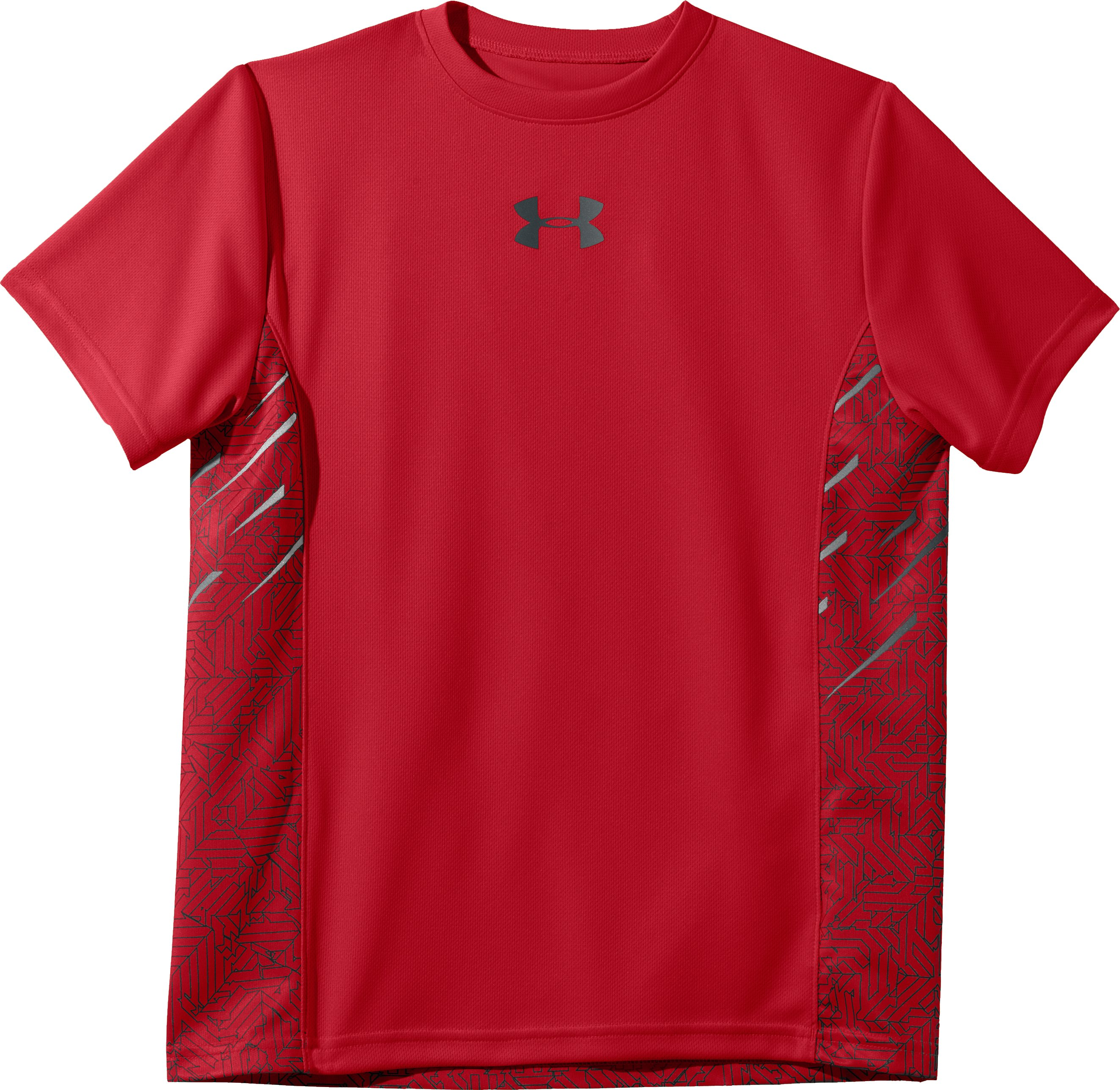 Boys' UA Watch Out Short Sleeve, Red, Laydown