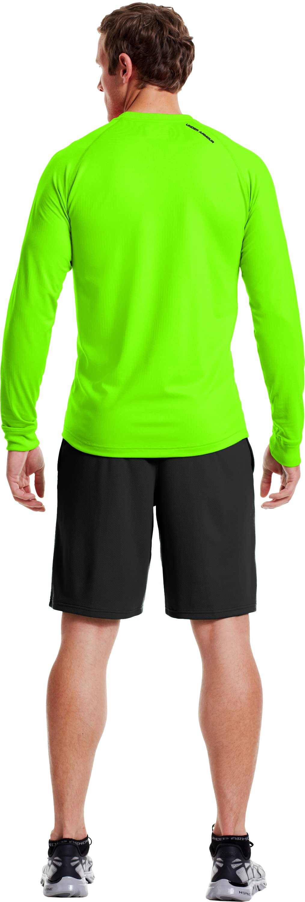 Men's ColdGear® Infrared Crew, HYPER GREEN, Back