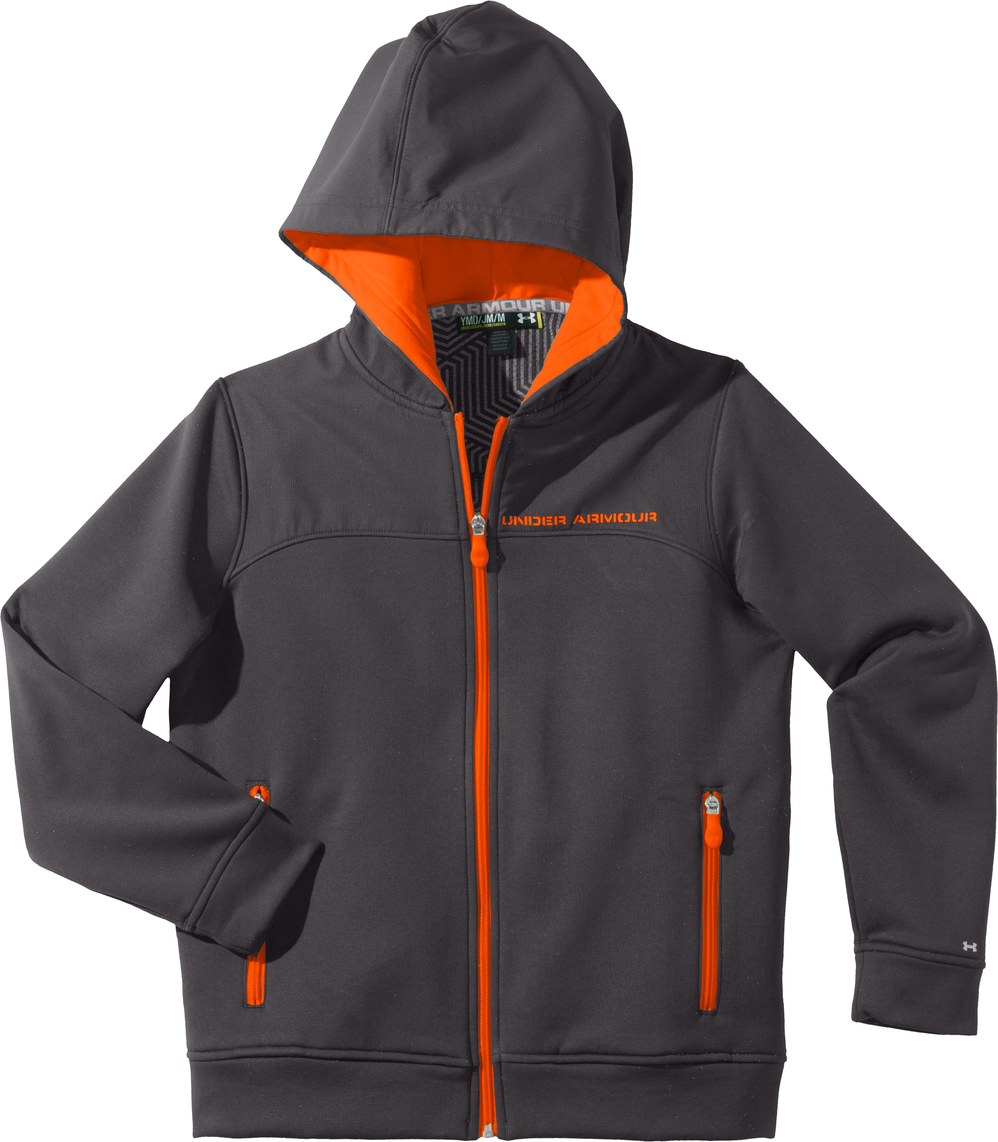 Boys' ColdGear® Infrared Armour® Fleece Storm Hoodie, Charcoal, Laydown