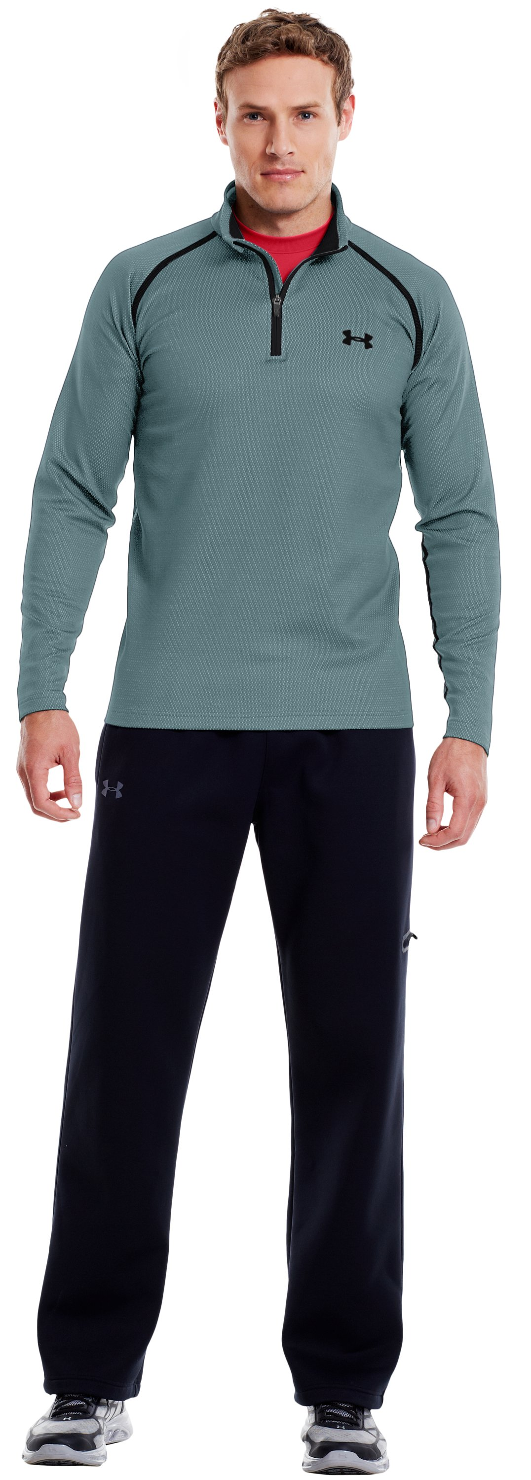 Men's ColdGear® Infrared Thermo ¼ Zip, True Gray Heather, zoomed image