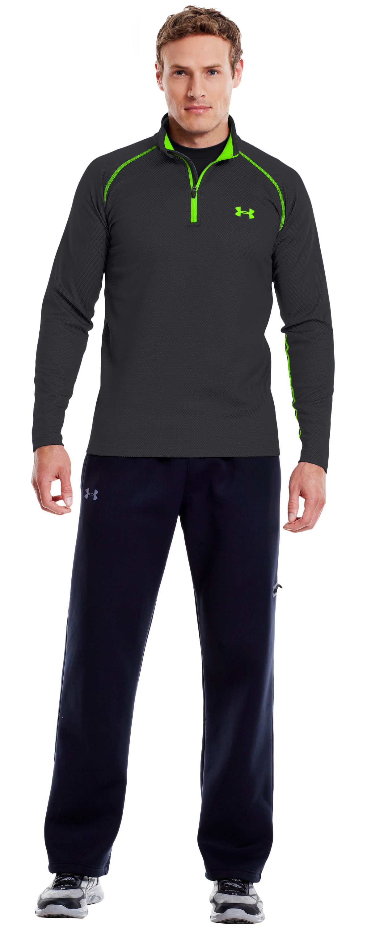 Men's ColdGear® Infrared Thermo ¼ Zip, Carbon Heather, Front