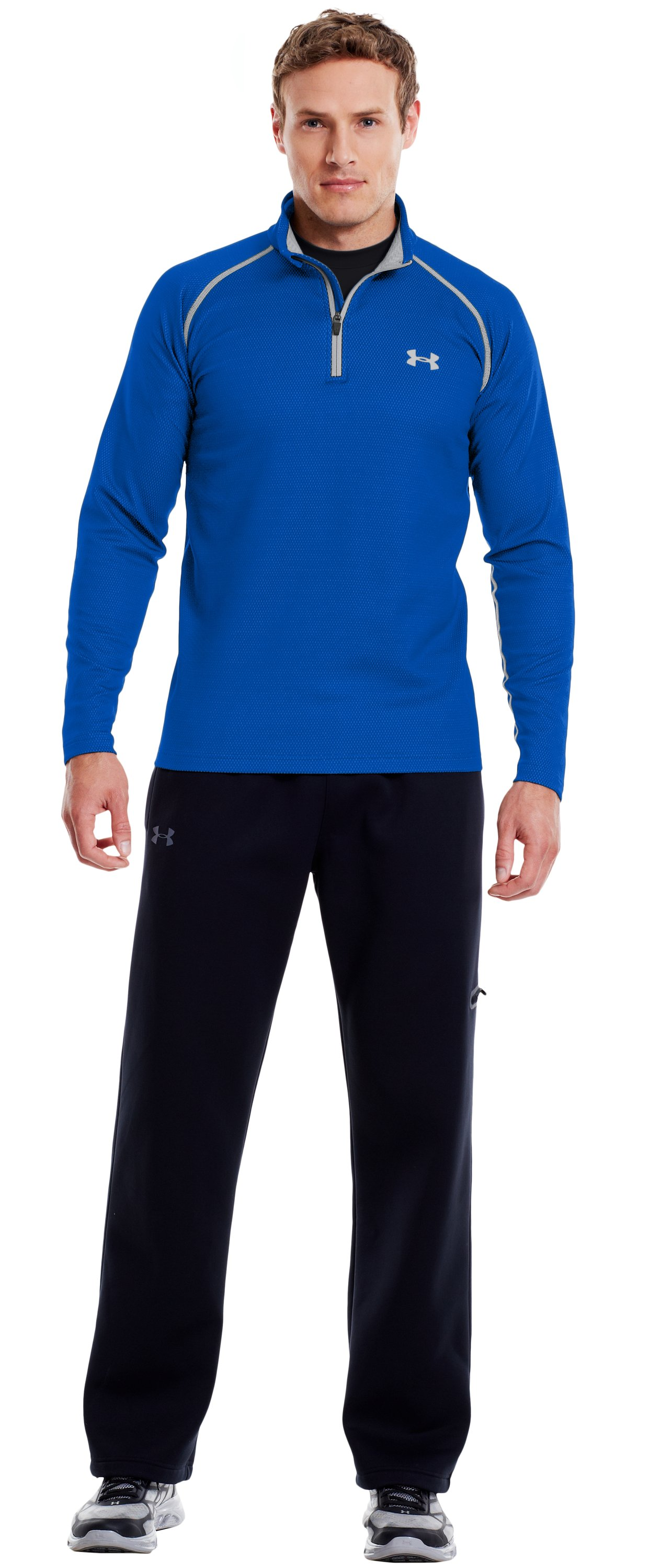 Men's ColdGear® Infrared Thermo ¼ Zip, Moon Shadow, Front