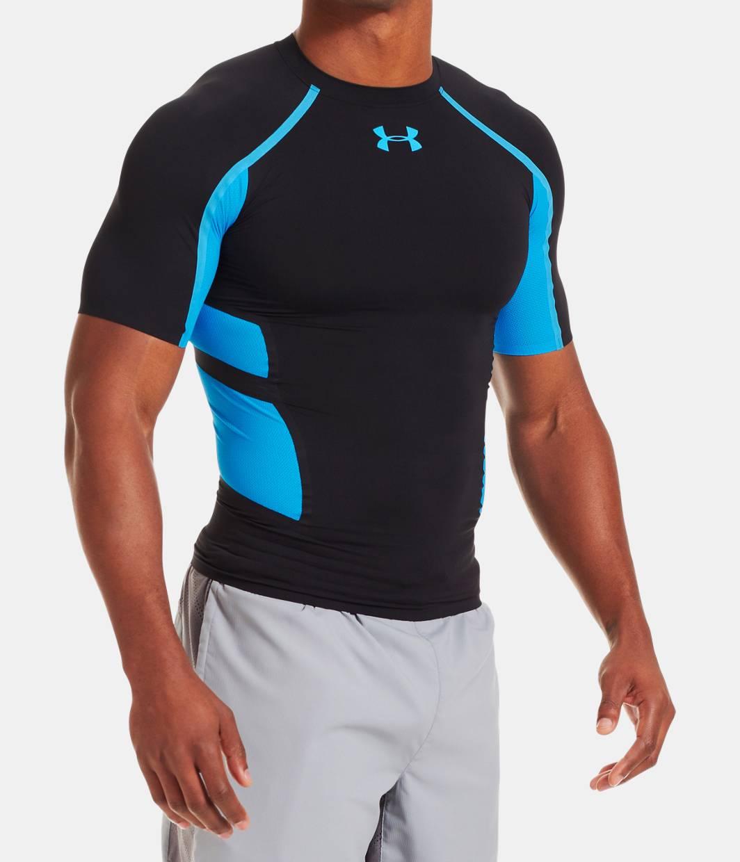 Men s ua heatgear armour stretch short sleeve for Under armour half sleeve shirt