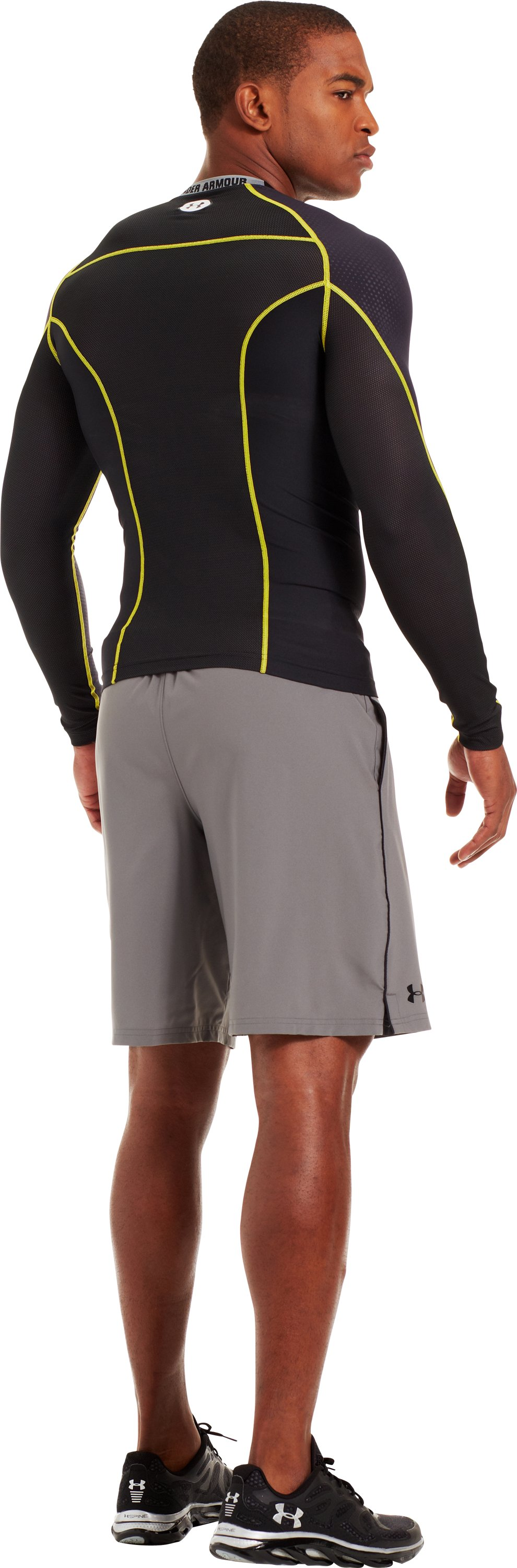 Men's HeatGear® Renegade Compression Long Sleeve, Black , Back
