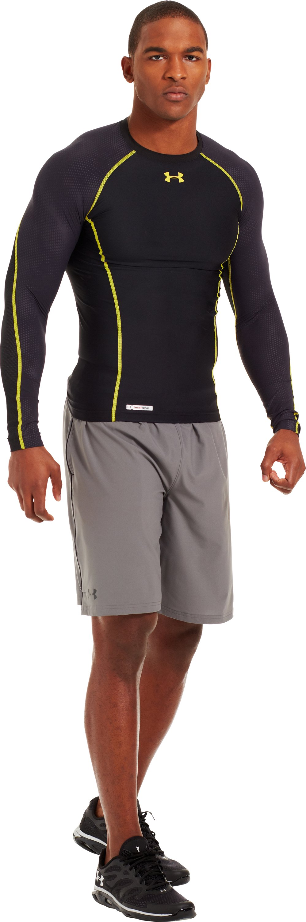 Men's HeatGear® Renegade Compression Long Sleeve, Black , Front
