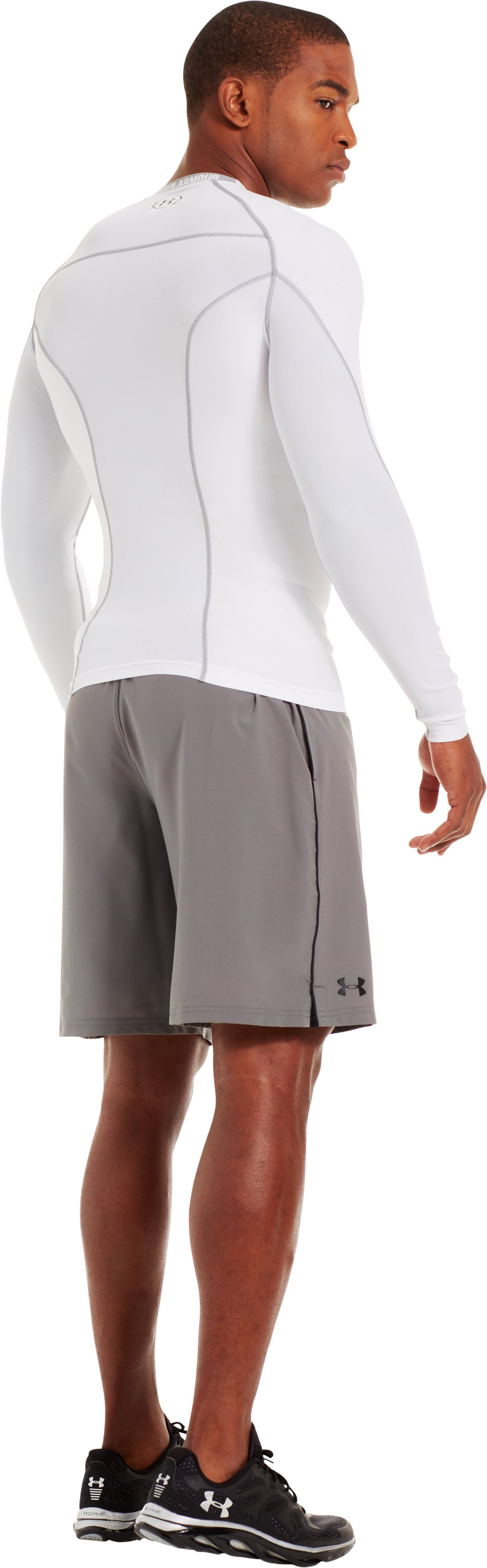 Men's HeatGear® Renegade Compression Long Sleeve, White, Back
