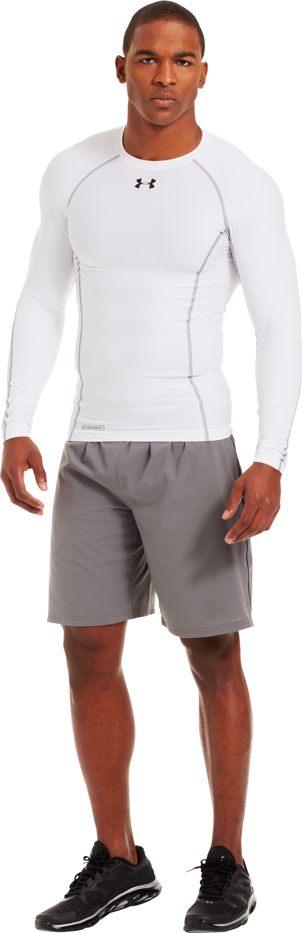 Men's HeatGear® Renegade Compression Long Sleeve, White, Front