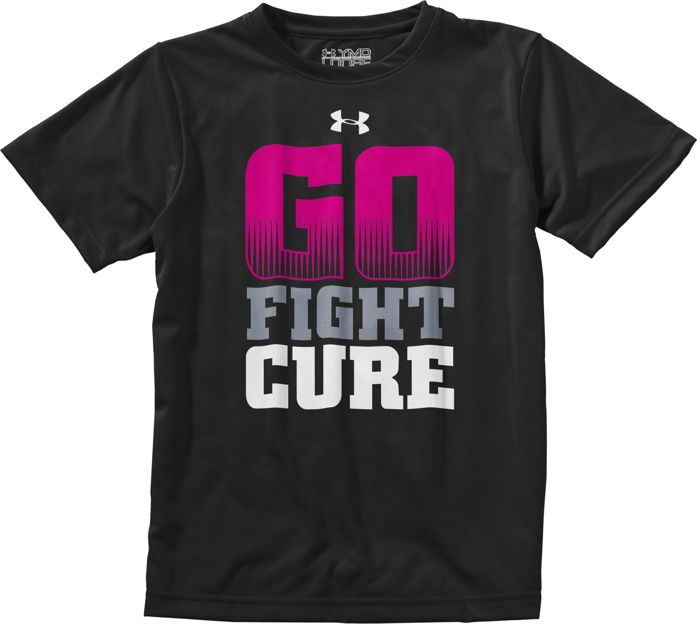 Boys' UA Go Fight Cure PIP® T-Shirt, Black , Laydown