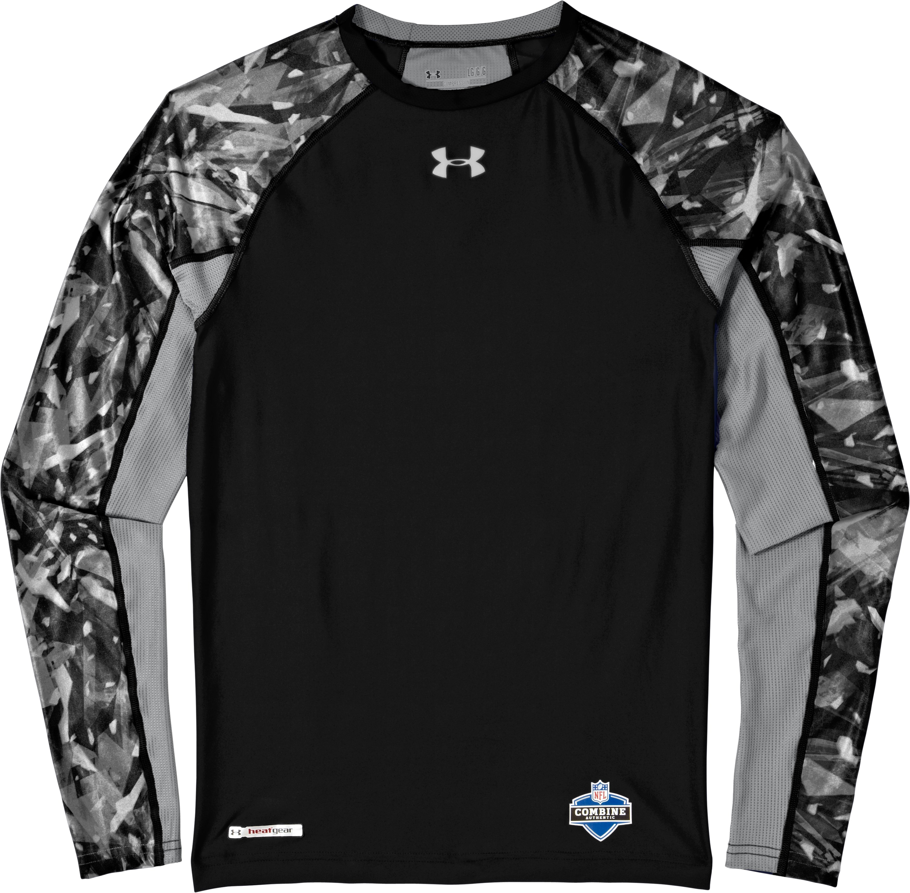 Men's NFL Combine Authentic Compression Long Sleeve, Black , Laydown