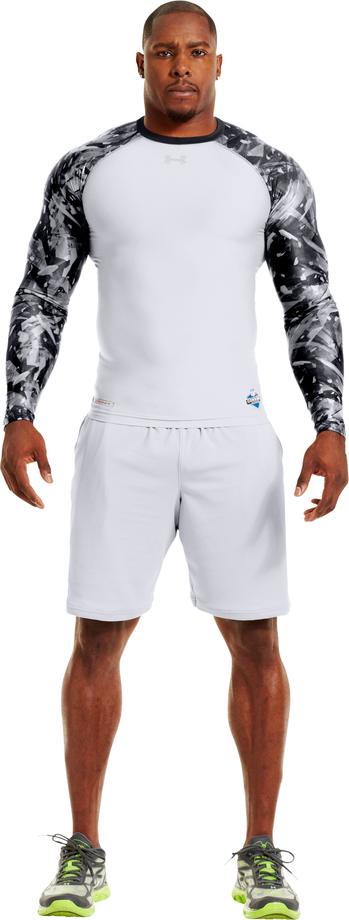 Men's NFL Combine Authentic Compression Long Sleeve, White, Front