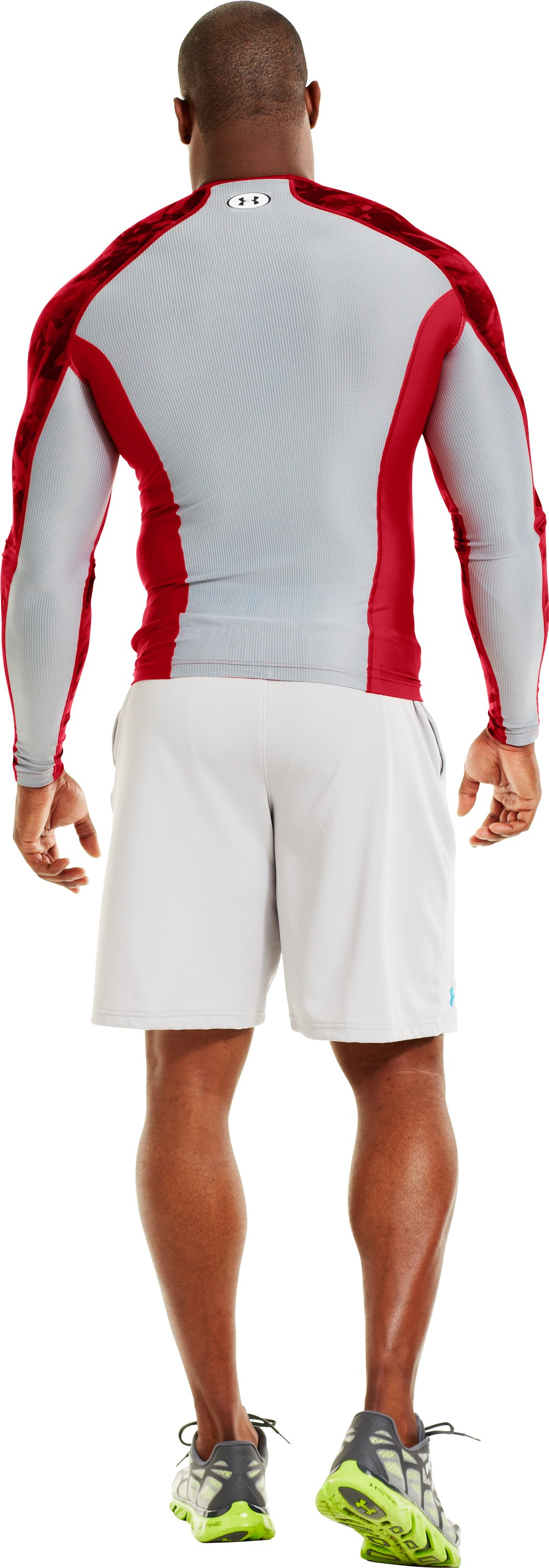 Men's NFL Combine Authentic Compression Long Sleeve, Red, Back