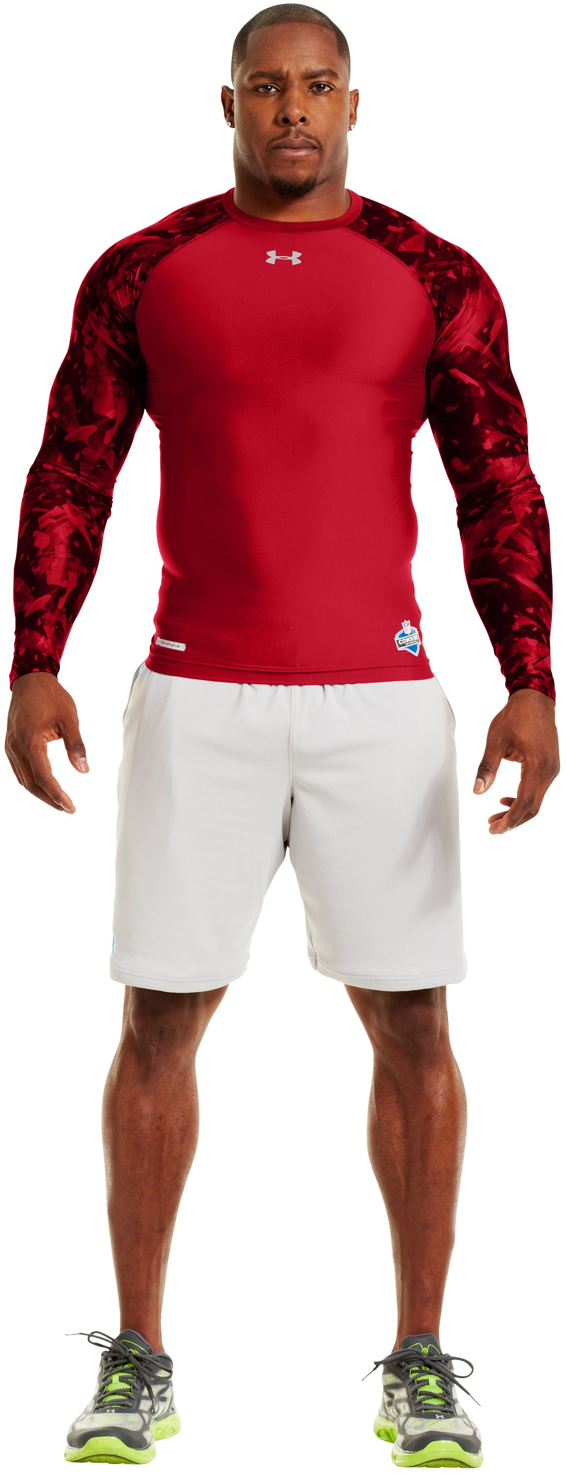 Men's NFL Combine Authentic Compression Long Sleeve, Red, Front