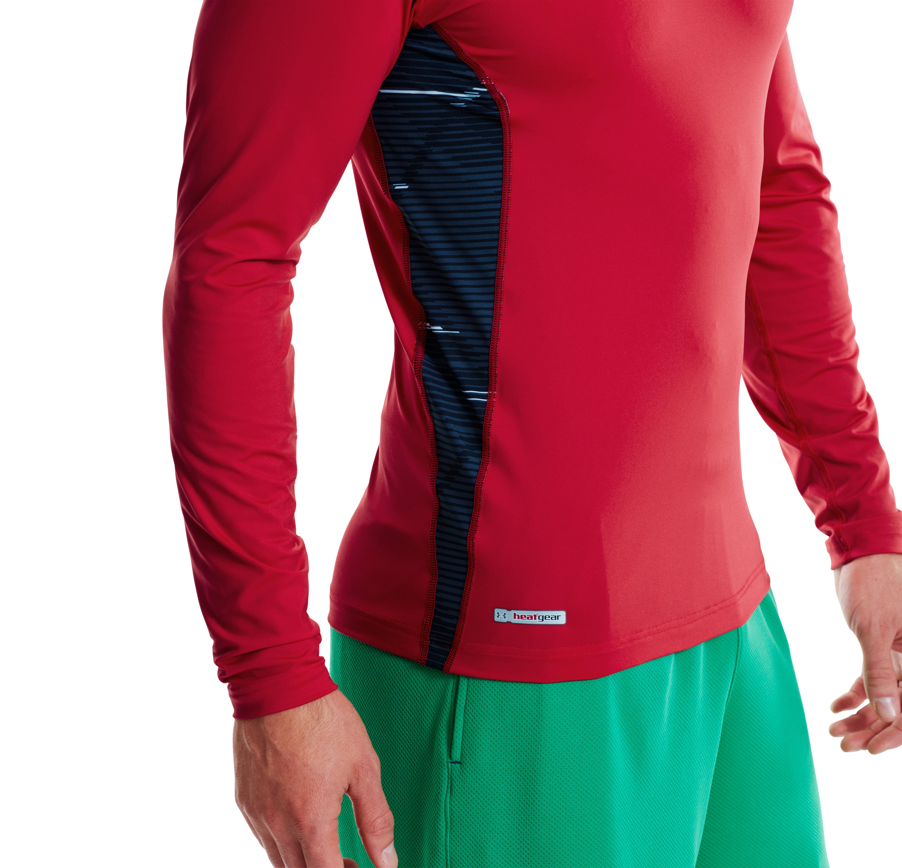 Men's HeatGear® Sonic Printed Fitted Long Sleeve, Red