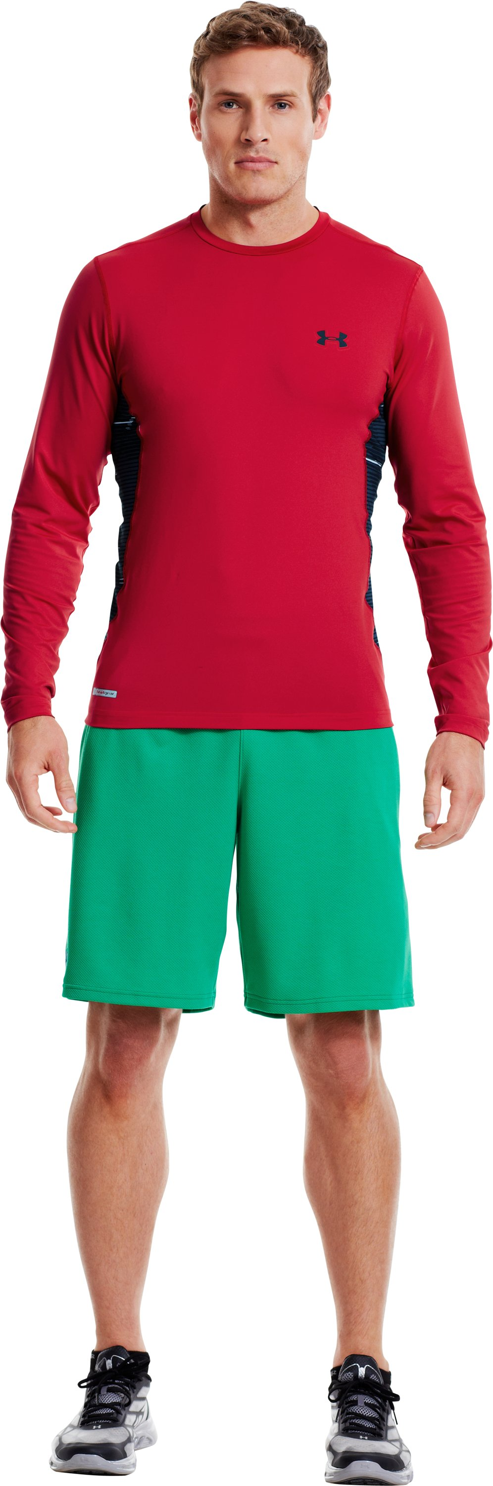 Men's HeatGear® Sonic Printed Fitted Long Sleeve, Red, zoomed image
