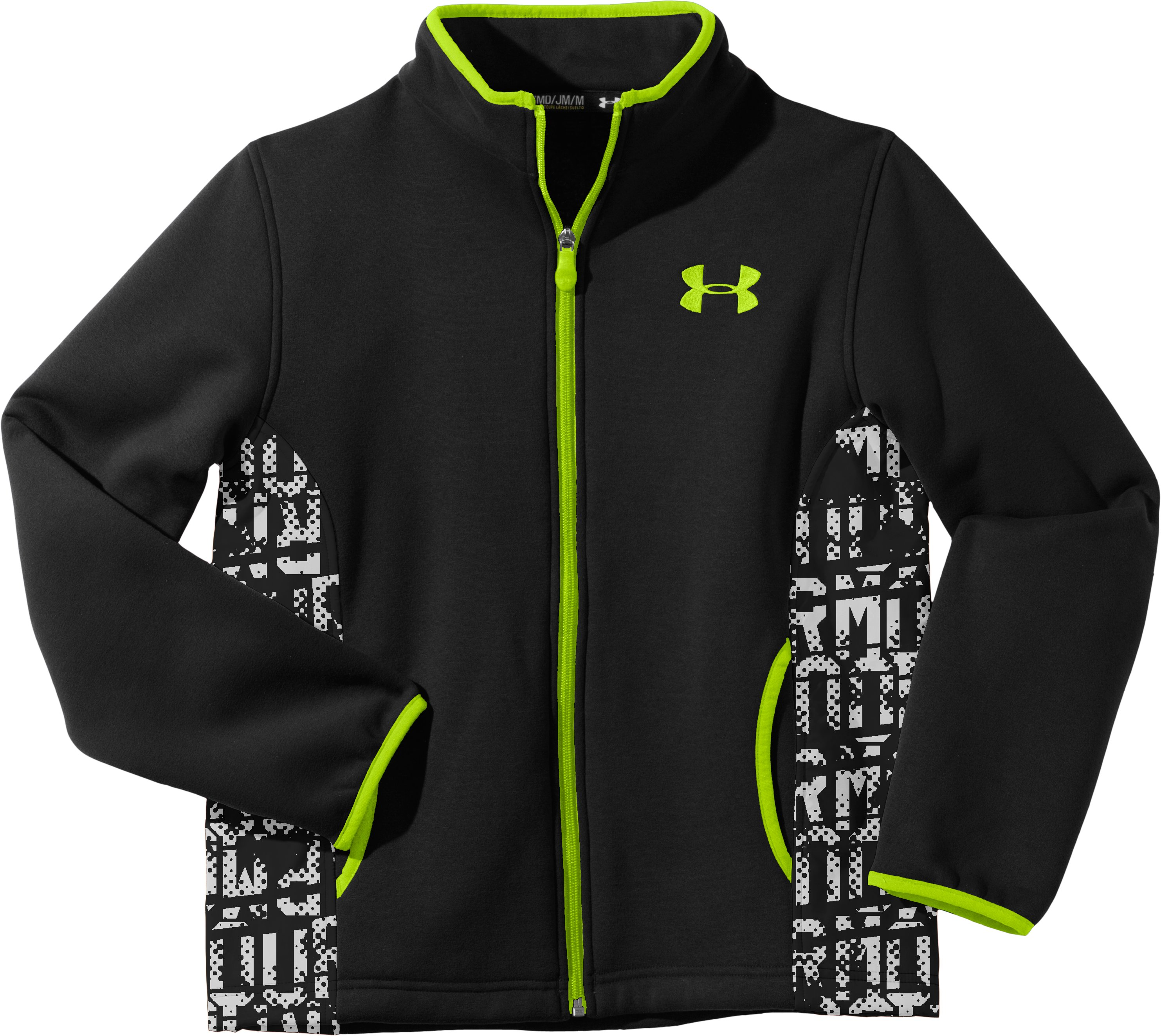 Boys' UA Cold-Activated Sherpa Jacket, Black , Laydown