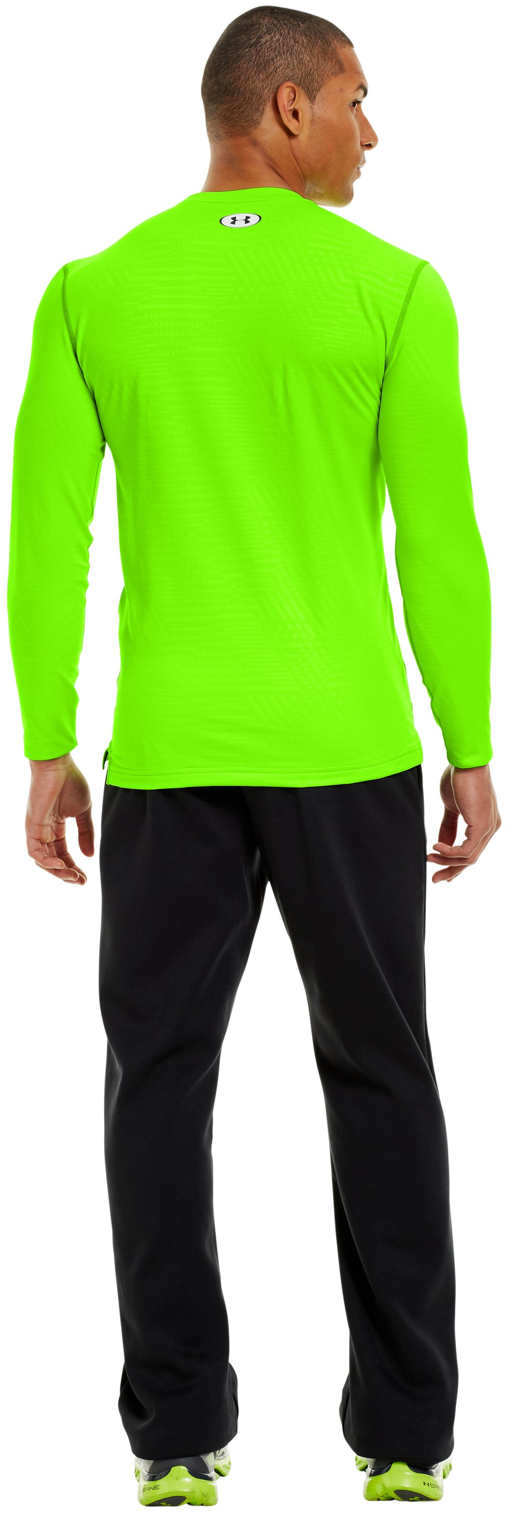 Men's ColdGear® Infrared Evo Printed Fitted Crew, HYPER GREEN, Back