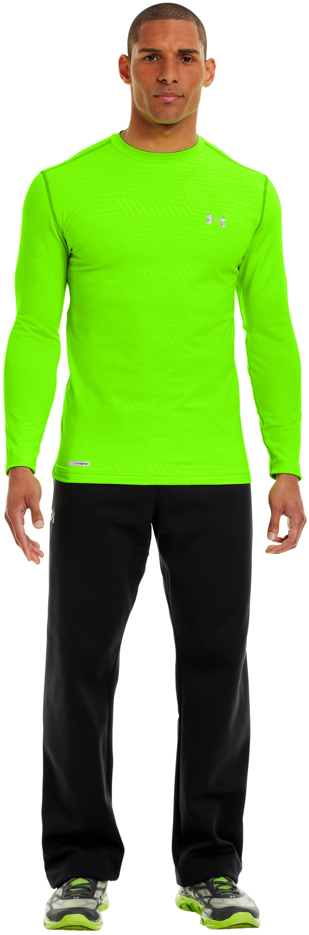 Men's ColdGear® Infrared Evo Printed Fitted Crew, HYPER GREEN, Front