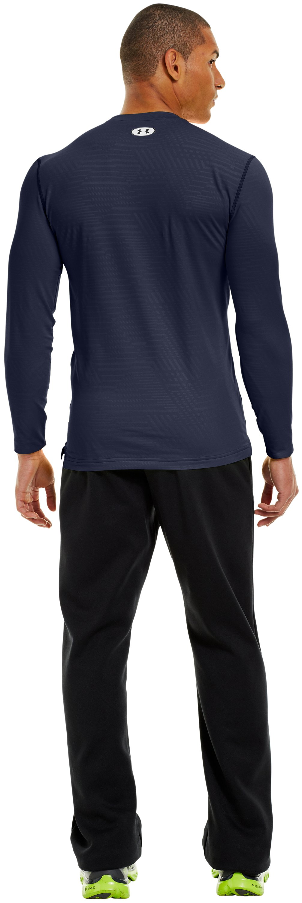 Men's ColdGear® Infrared Evo Printed Fitted Crew, Midnight Navy, Back