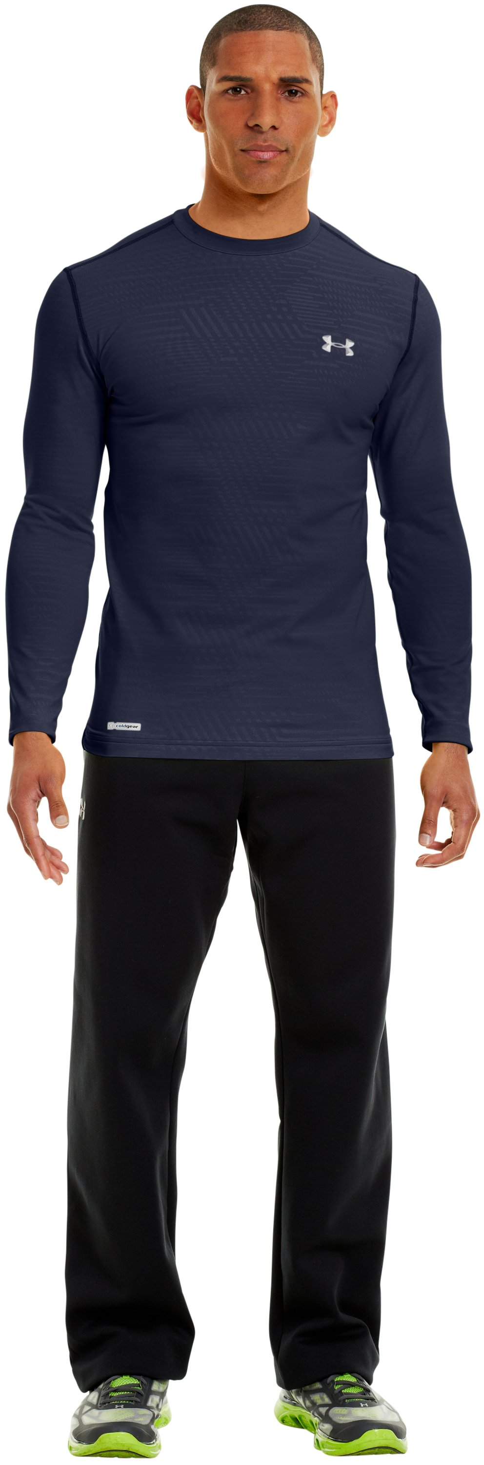 Men's ColdGear® Infrared Evo Printed Fitted Crew, Midnight Navy, zoomed image