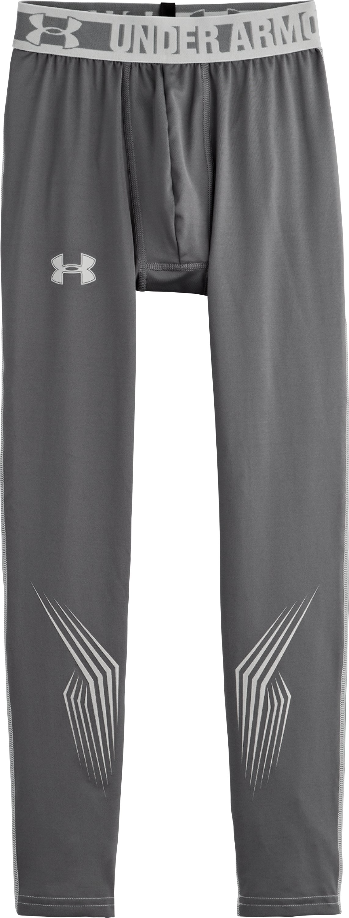 Boys'' UA Hockey Grippy Fitted Leggings, Graphite, Laydown