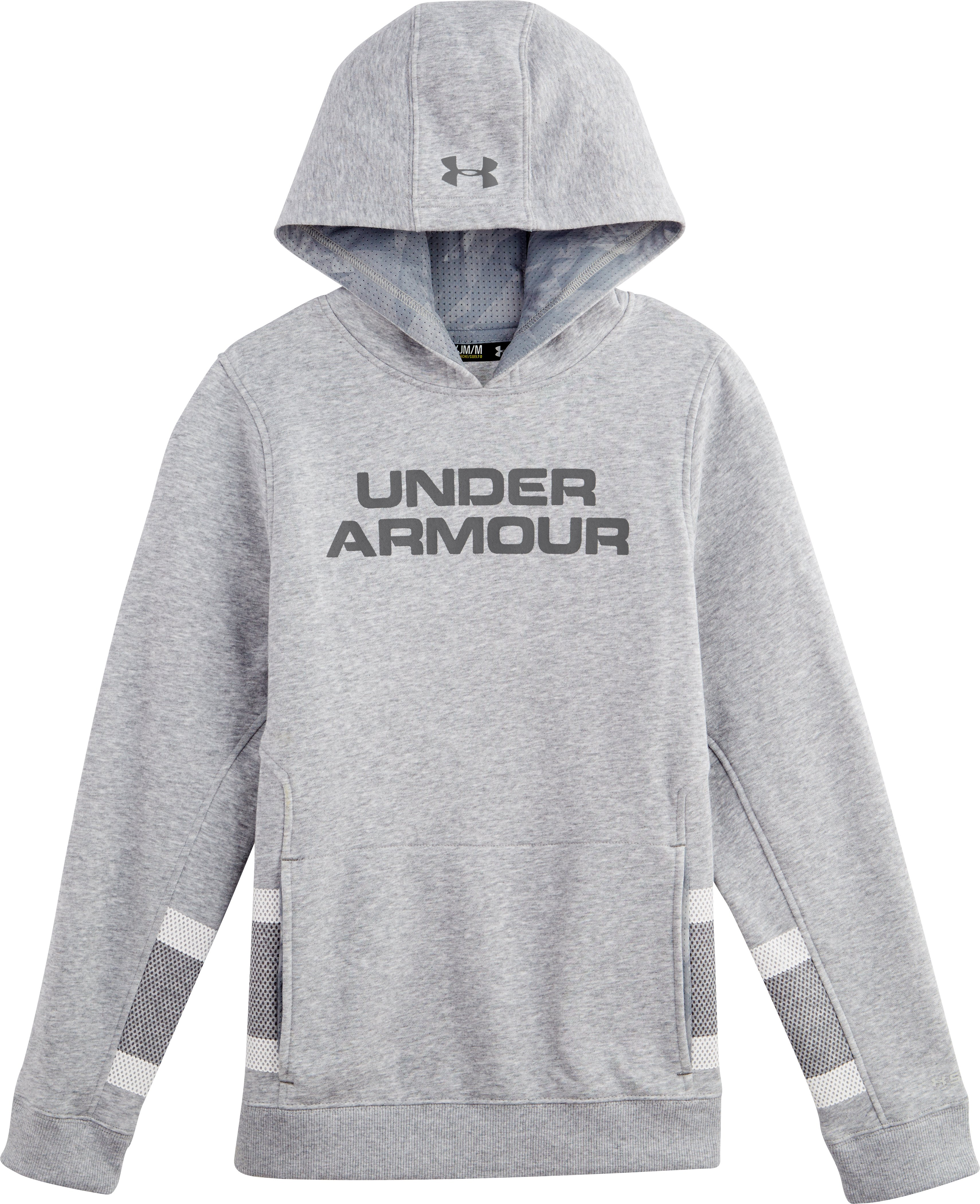Boys' Charged Cotton® Storm Chuck-A-Puck Hoodie, True Gray Heather, Laydown