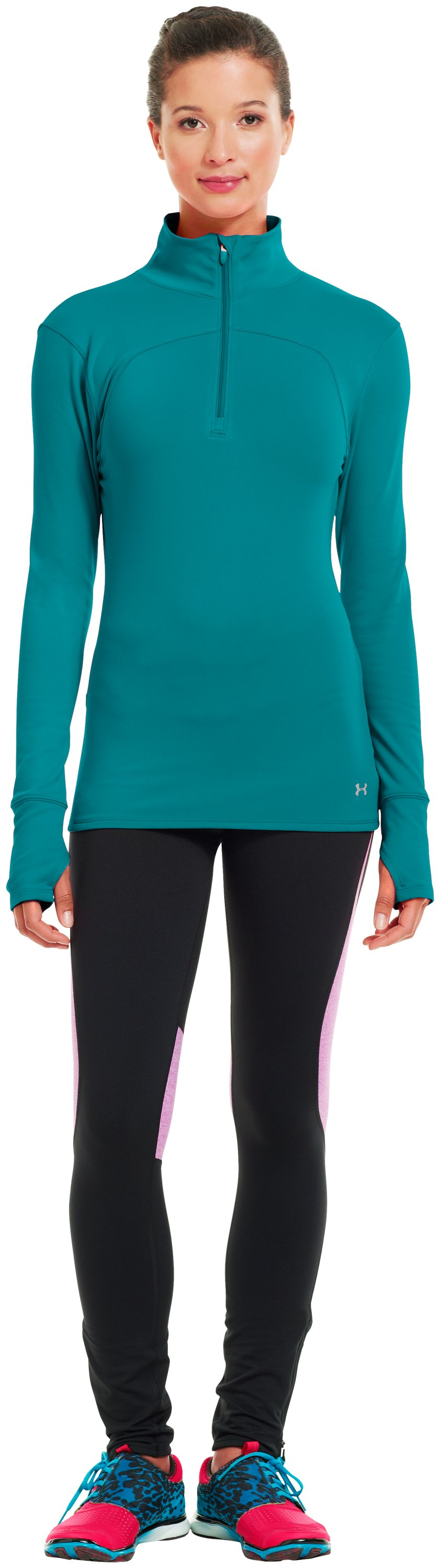 Women's UA Qualifier Knit ¼ Zip, CERULEAN, Front