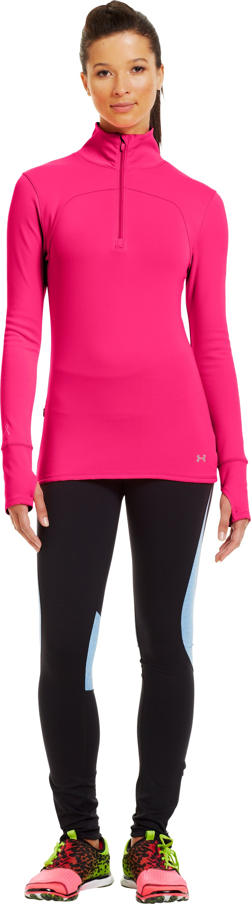 Women's UA Qualifier Knit ¼ Zip, Cerise, Front