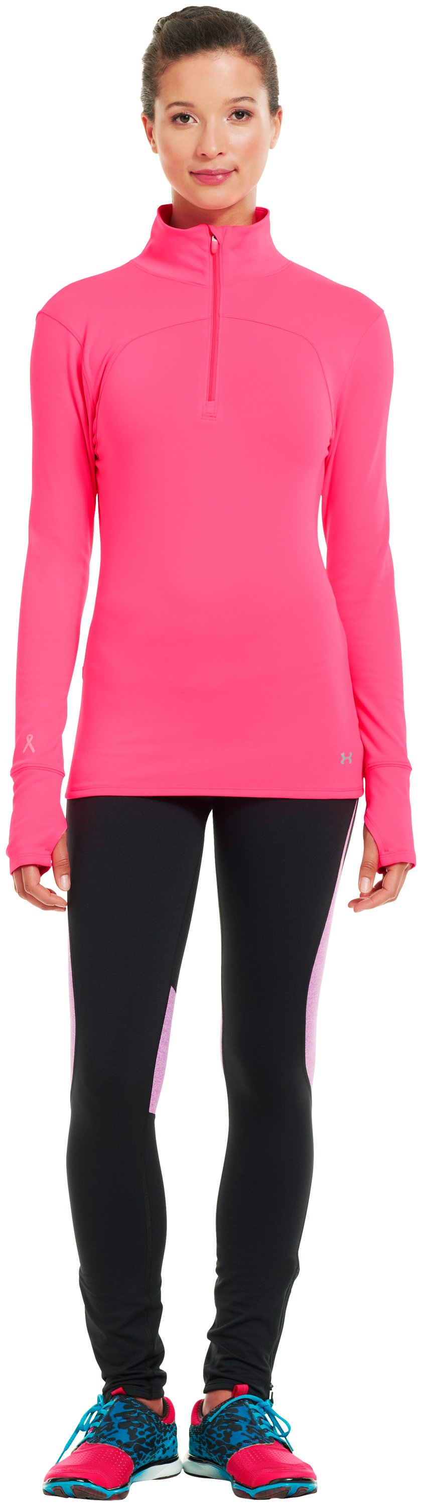 Women's UA Qualifier Knit ¼ Zip, PINKADELIC, Front