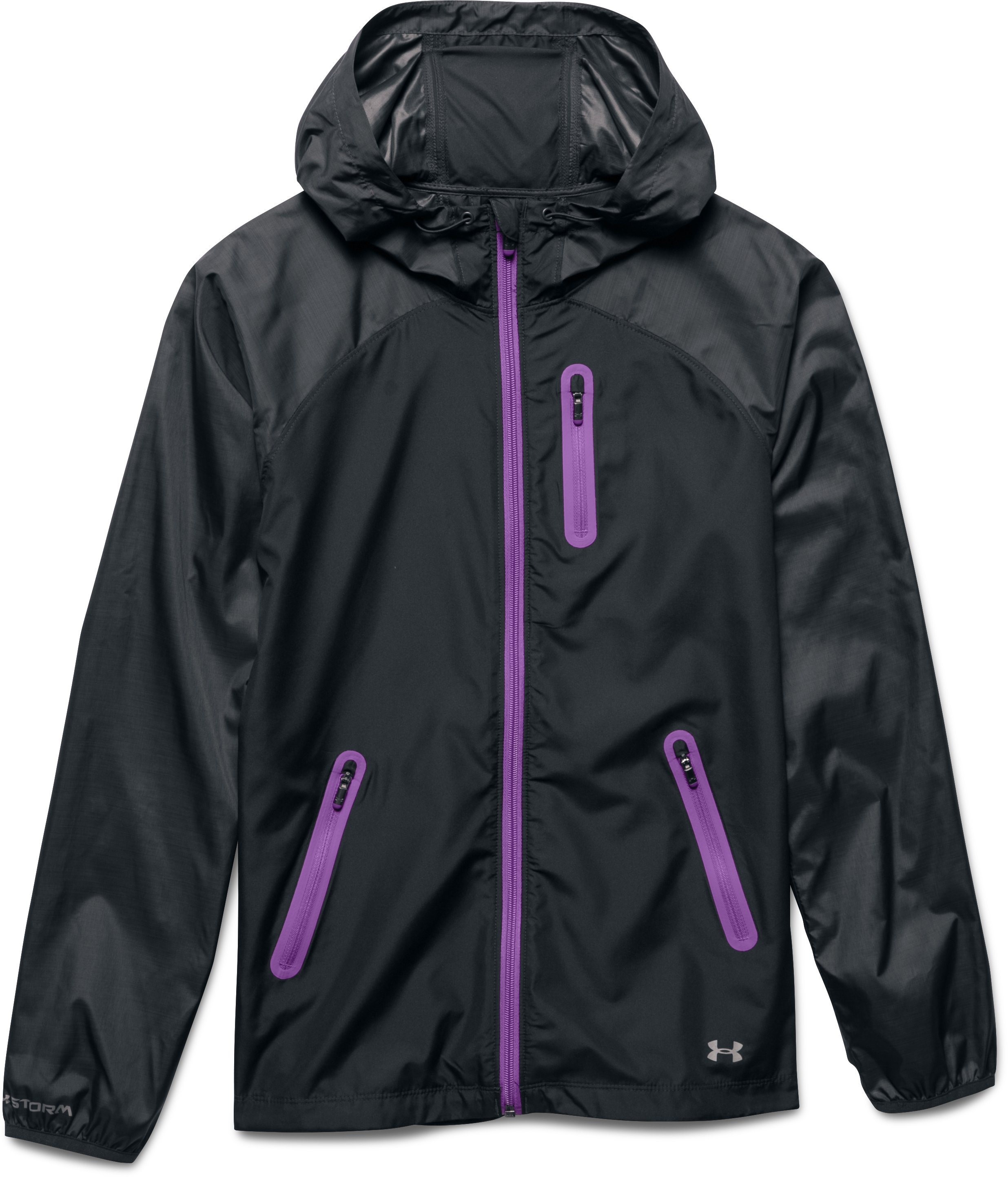 Women's UA Qualifier Woven Jacket, ANTHRACITE, Laydown