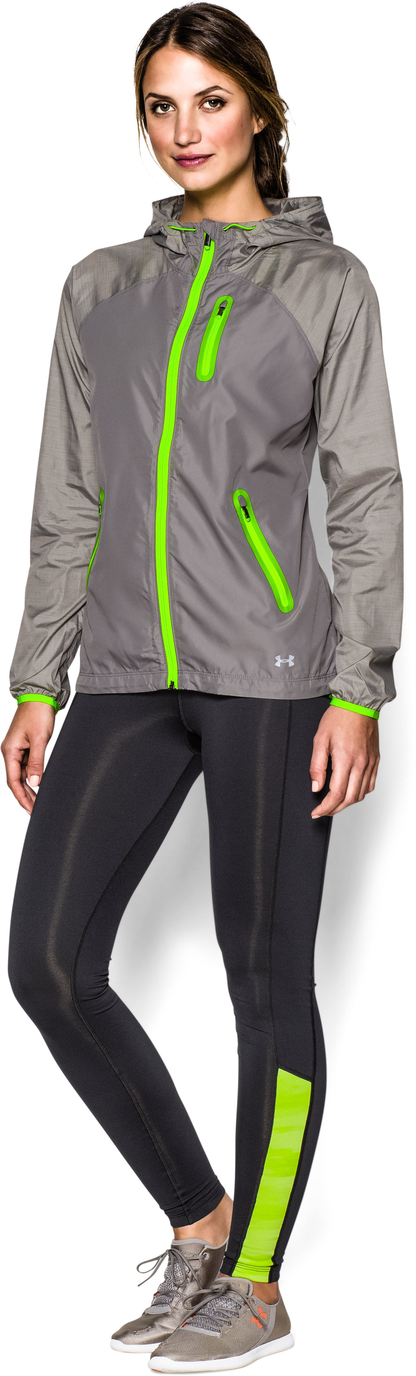 Women's UA Qualifier Woven Jacket, STEEPLE GRAY