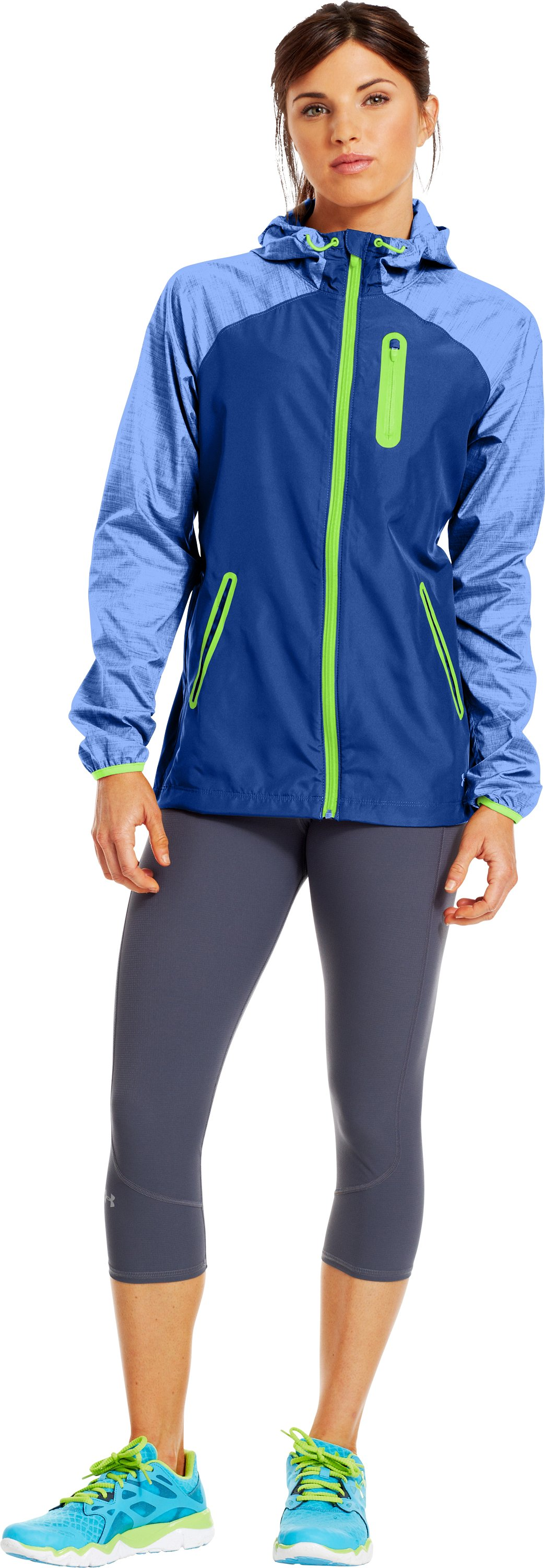 Women's UA Qualifier Woven Jacket, BLU-AWAY, Front